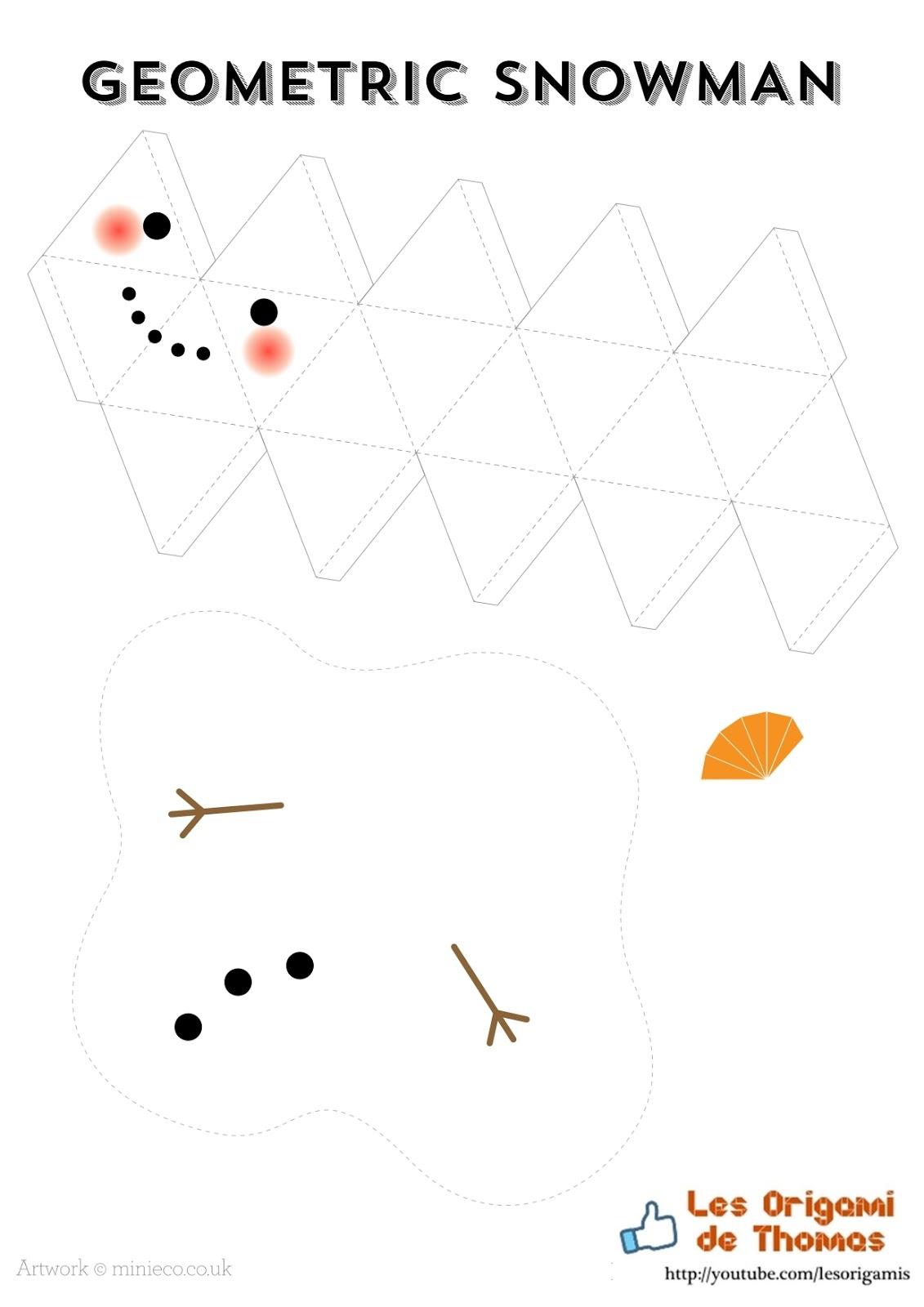 Bonhomme De Neige En Papercraft serapportantà Origami Bonhomme De Neige