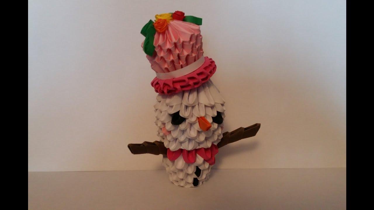 Bonhomme De Neige, Snowman Origami 3D pour Origami Bonhomme De Neige