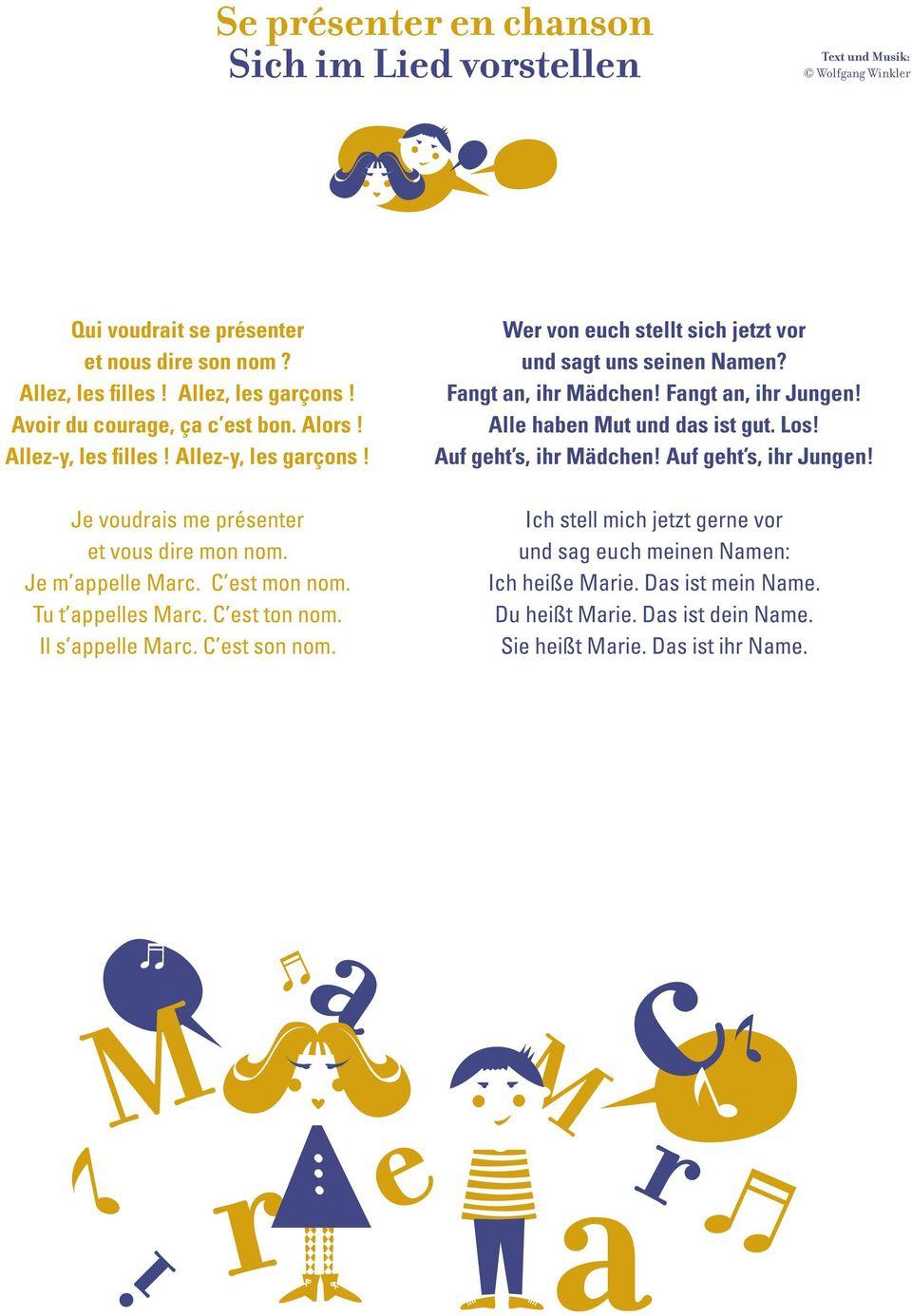 Bonjour» 12 Lieder Auf Französisch, Deutsch Und In Beiden dedans Bonjour Monsieur Comment Ca Va