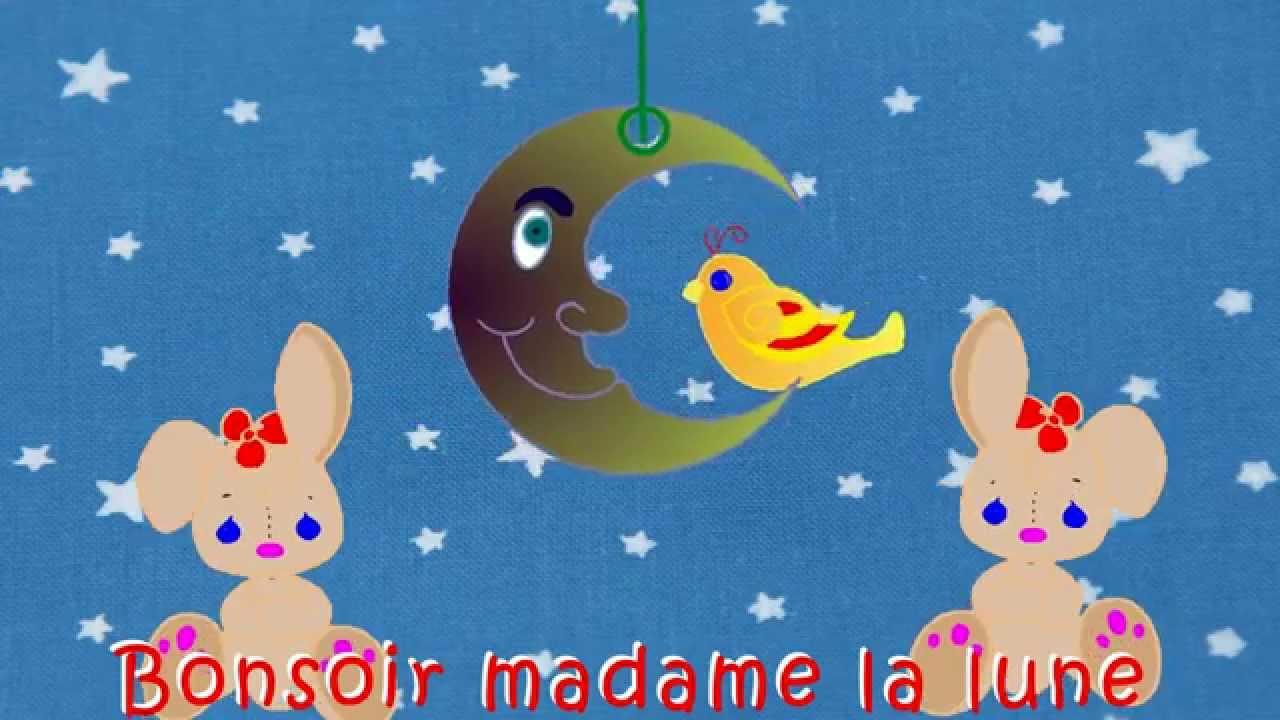 """""""bonsoir Madame La Lune"""" - Comptines Et Chansons Animées Pour Enfants encequiconcerne Comptine Bonjour Madame Lundi"""