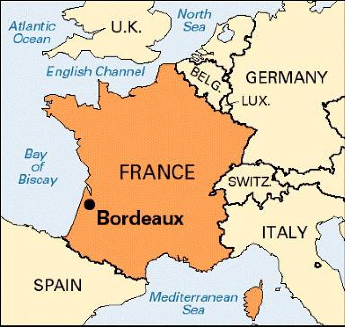 Bordeaux Karte Von Frankreich - Bordeaux Auf Der Karte dedans Nouvelle Region France