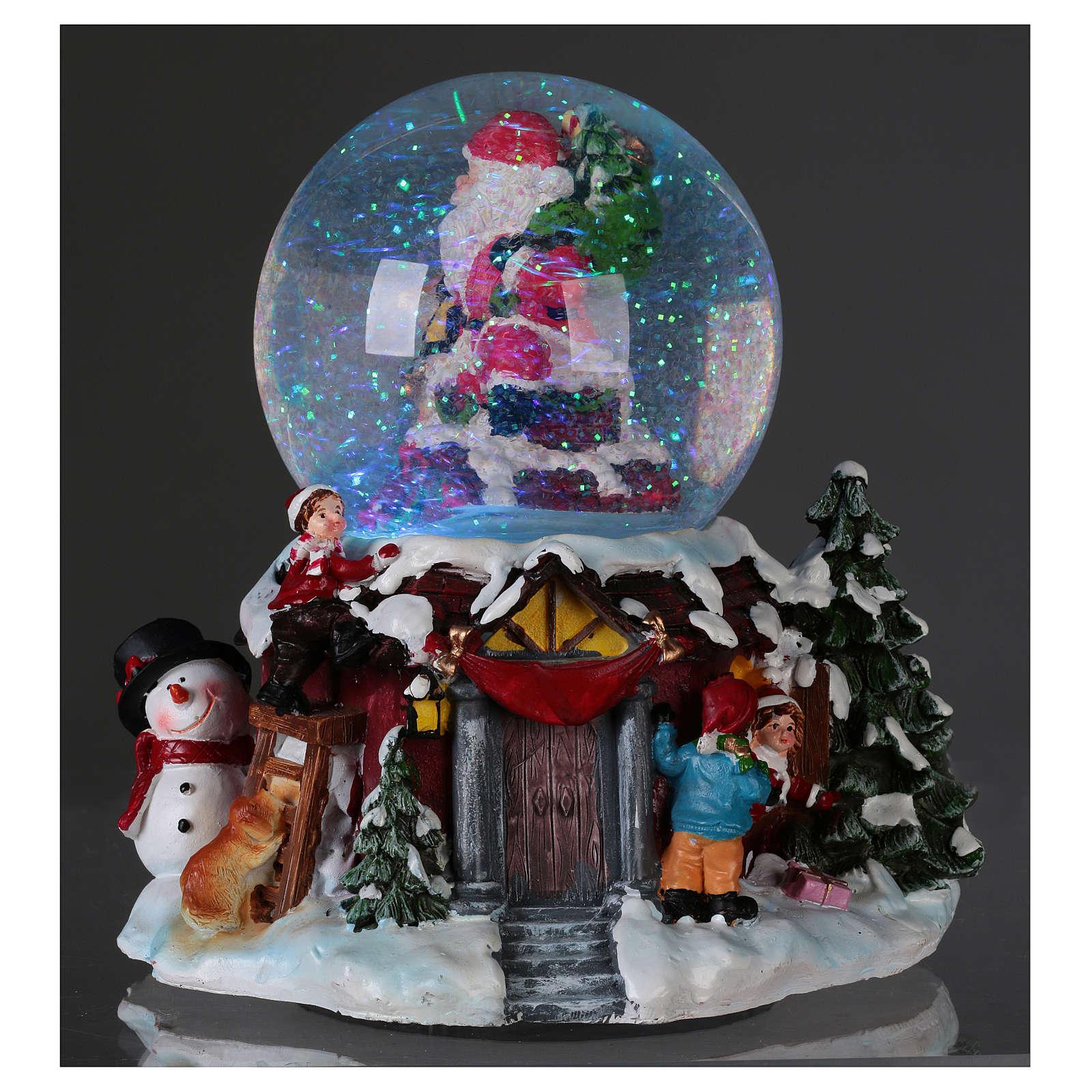 Boule À Neige Verre Père Noël Et Renne Avec Musique Et Paillettes destiné Musique Du Père Noël