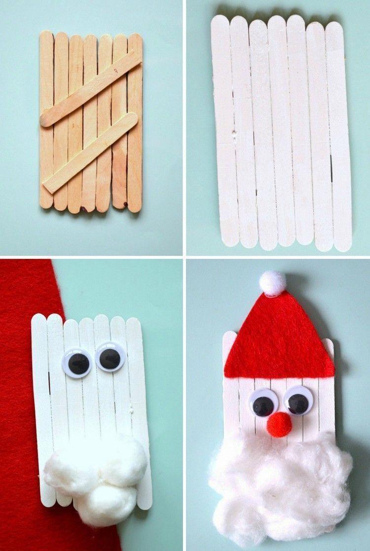 Bricolage-De-Noel-En-Bois-Pere-Noel-Faire-Soi-Meme-Batons avec Bricolage Avec Baton De Bois