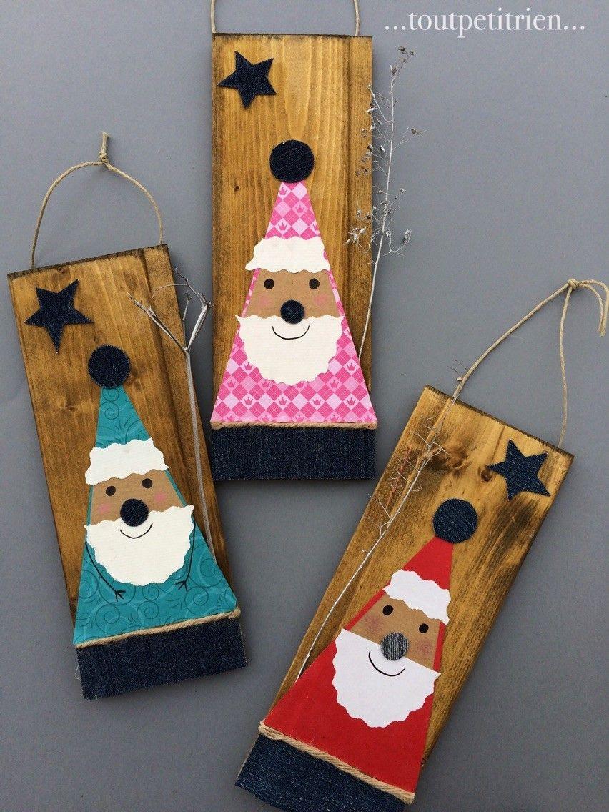 Bricolage Enfants Père Noël Sur Une Planche En Bois. serapportantà Bricolage De Noel Pour Maternelle
