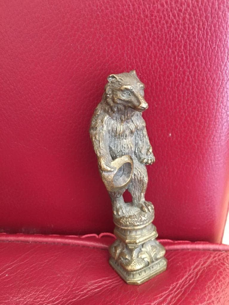 Cachet En Bronze Ours Savant - Bronzes Animaliers serapportantà Ours Savant