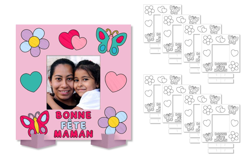 """Cadres Photo À Colorier """"bonne Fête Maman"""" - Lot De 8 intérieur Carte Bonne Fete Maman A Imprimer"""