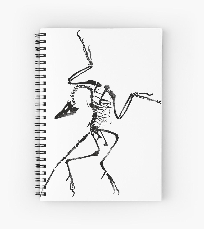 Cahier À Spirale 'archéoptéryx Squelette Imprimer' Par Jjjericho destiné Squelette A Imprimer