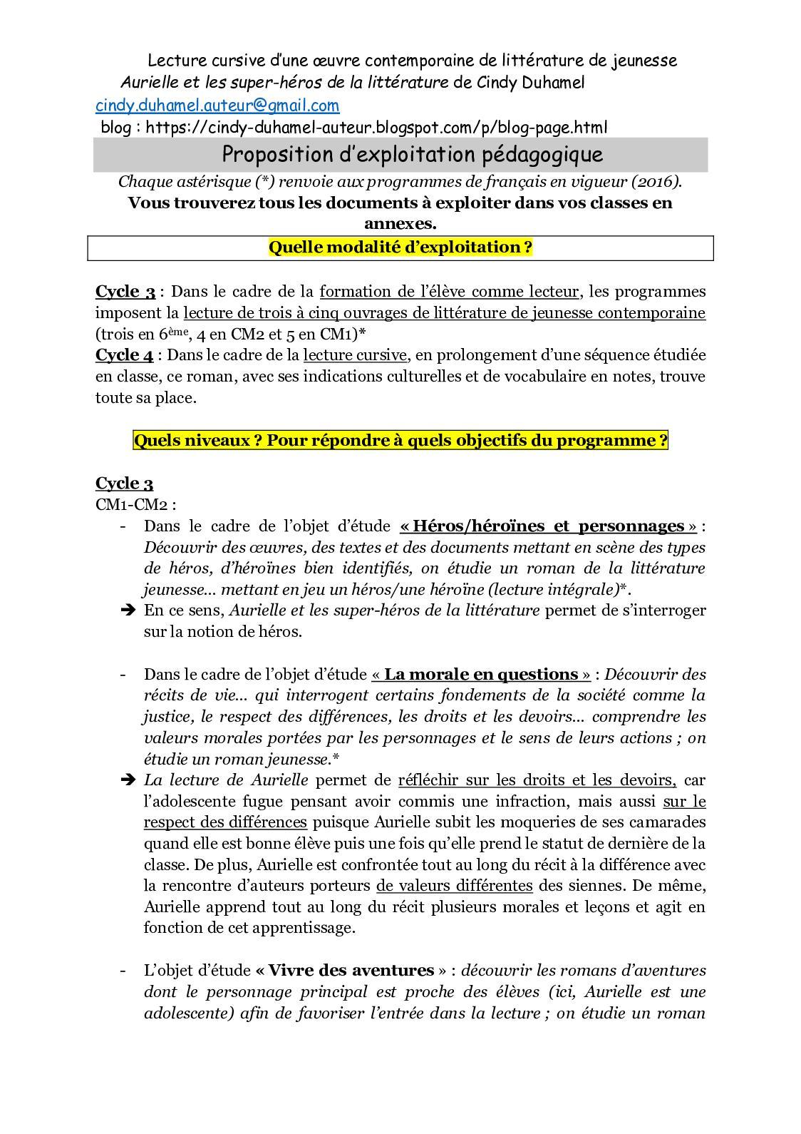 Calaméo - «Aurielle Et Les Super-Héros De La Littérature » intérieur Leçon Respiration Cm1