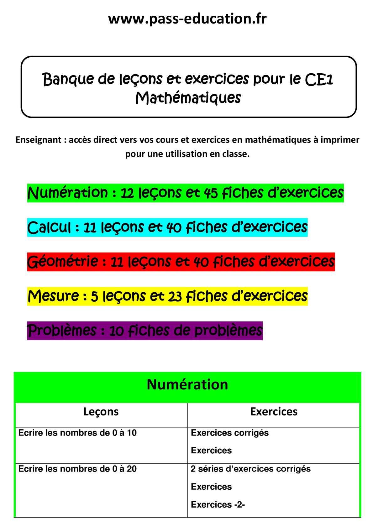 Calaméo - Ce1 Mathématiques - Banque De Leçons Et Exercices destiné Les Nombres De 0 À 20