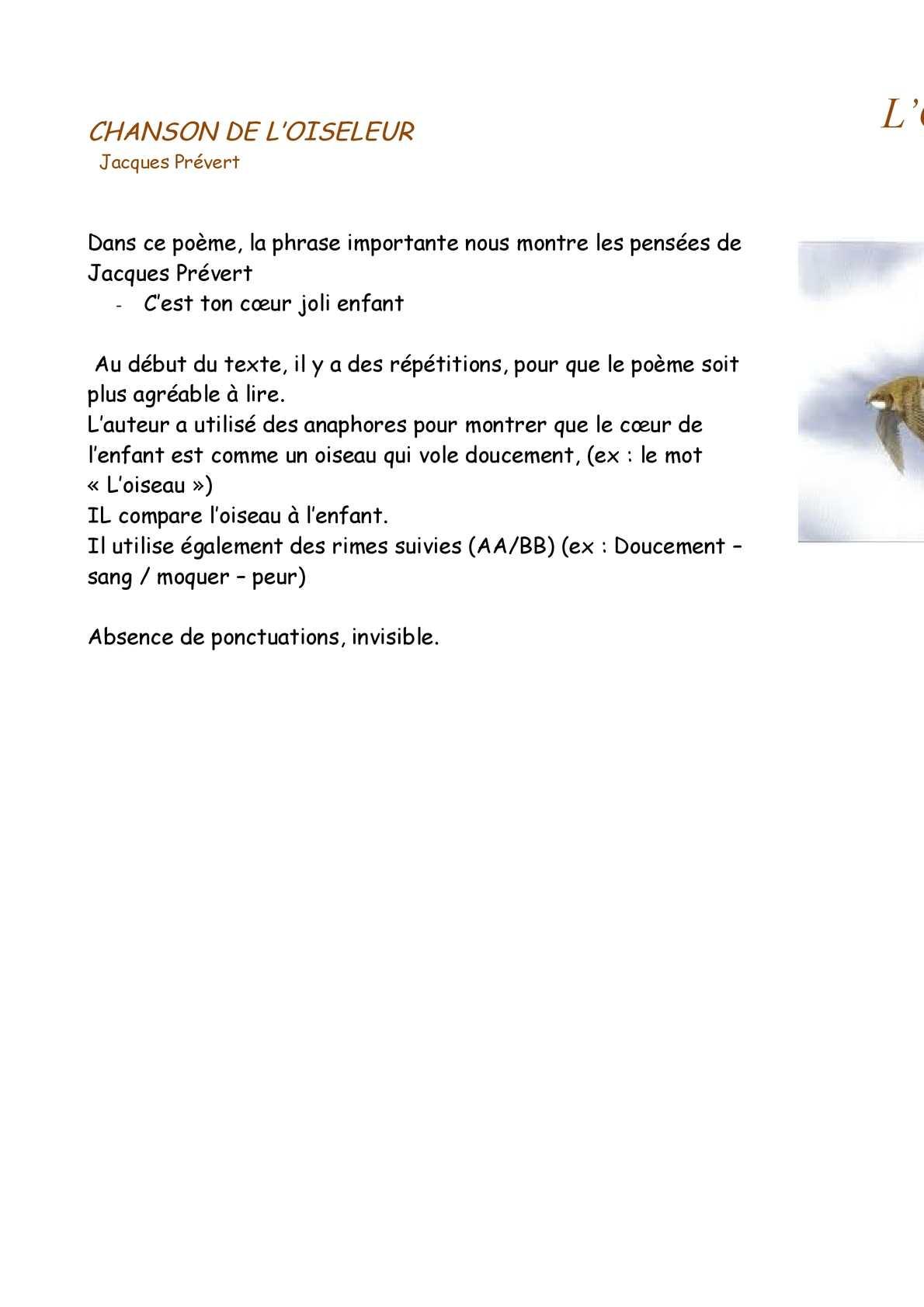 Calaméo - Chanson De L'oiseleur - Page 5 pour Poeme De Jacque Prevert