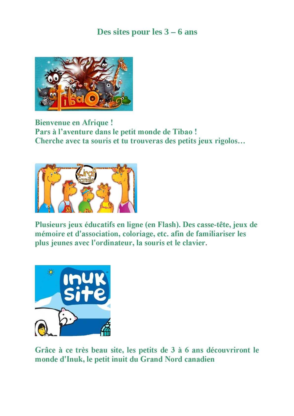 Calaméo - Des Sites Pour Les 3 6 Ans dedans Jeux Educatif 3 Ans En Ligne