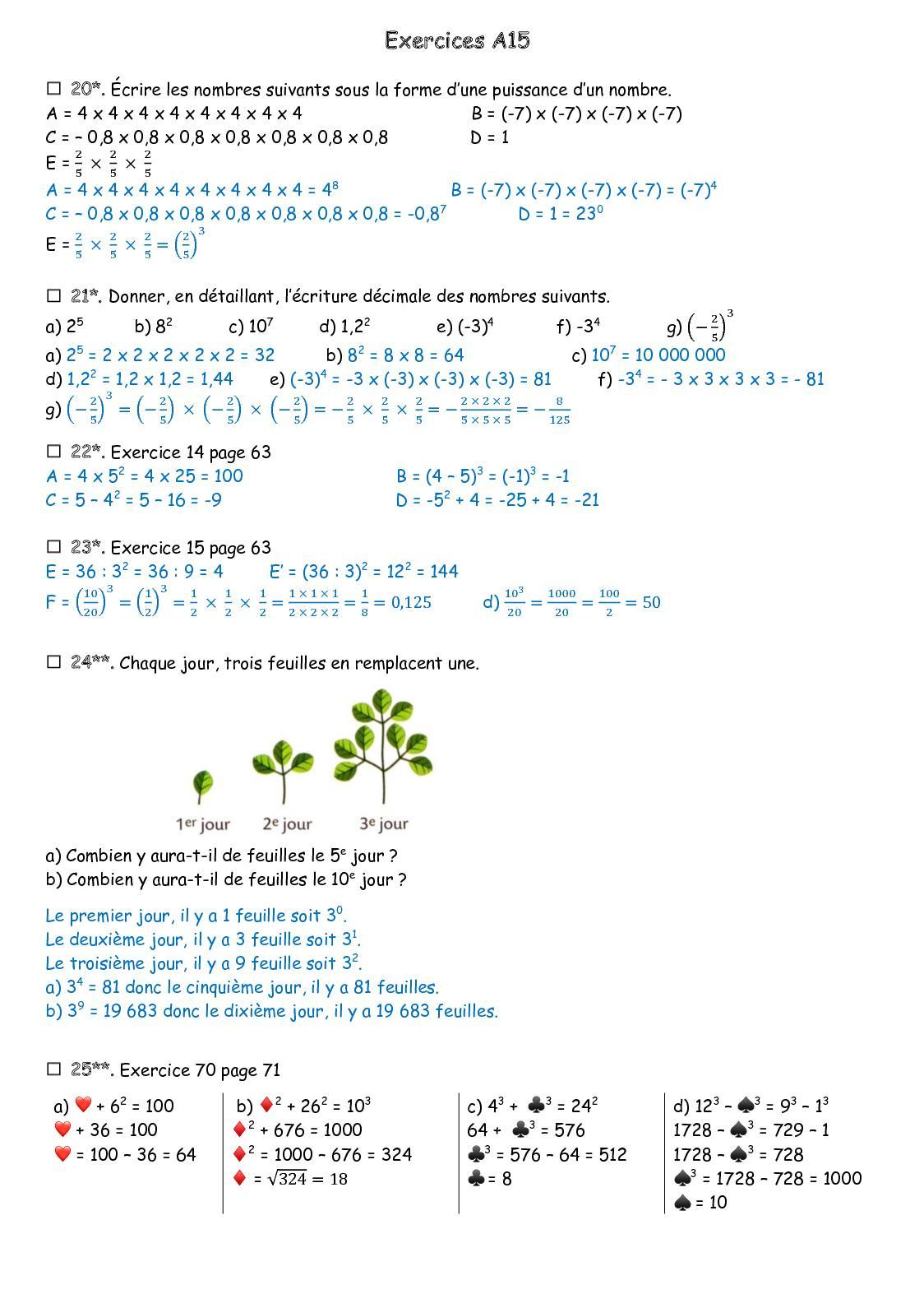 Calaméo - Exercices A15 Corrigé 5Eme à Les Nombres De 0 À 20