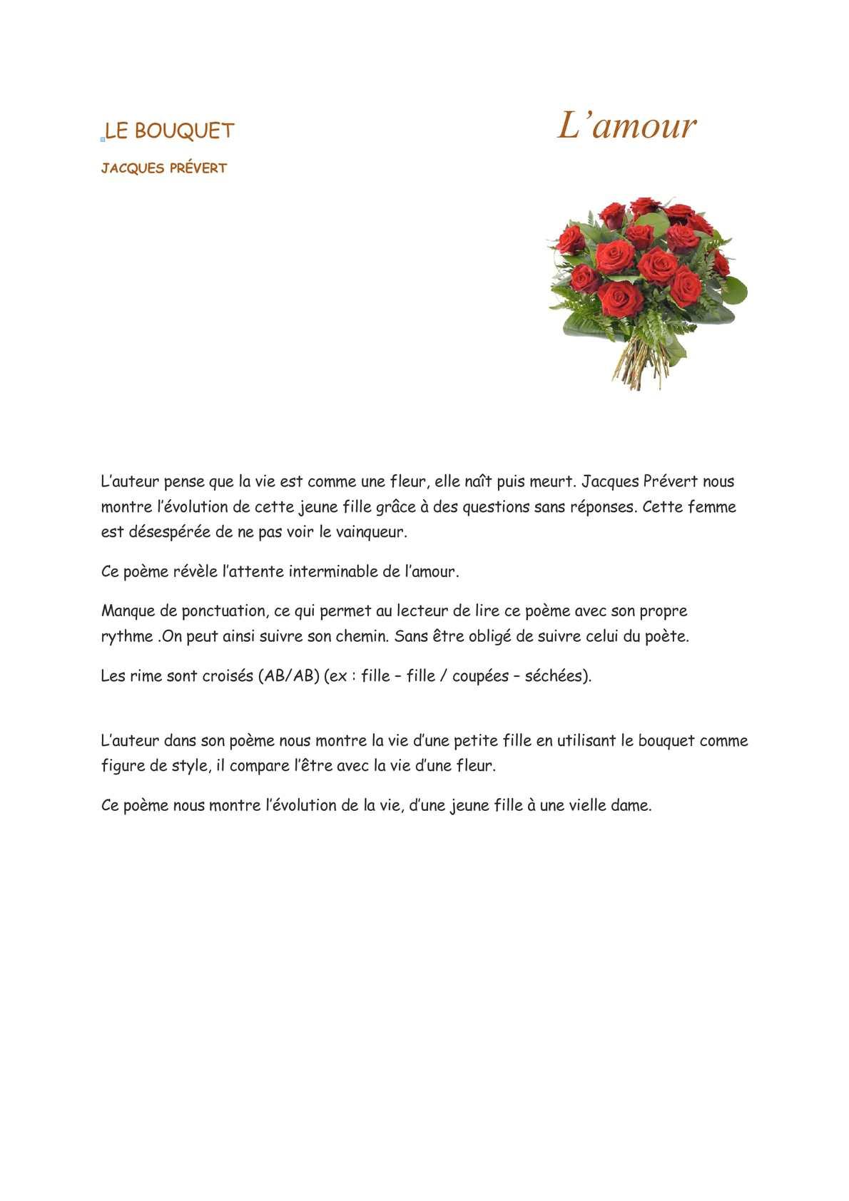 Calaméo - Le Bouquet - Page 10 dedans Poeme De Jacque Prevert