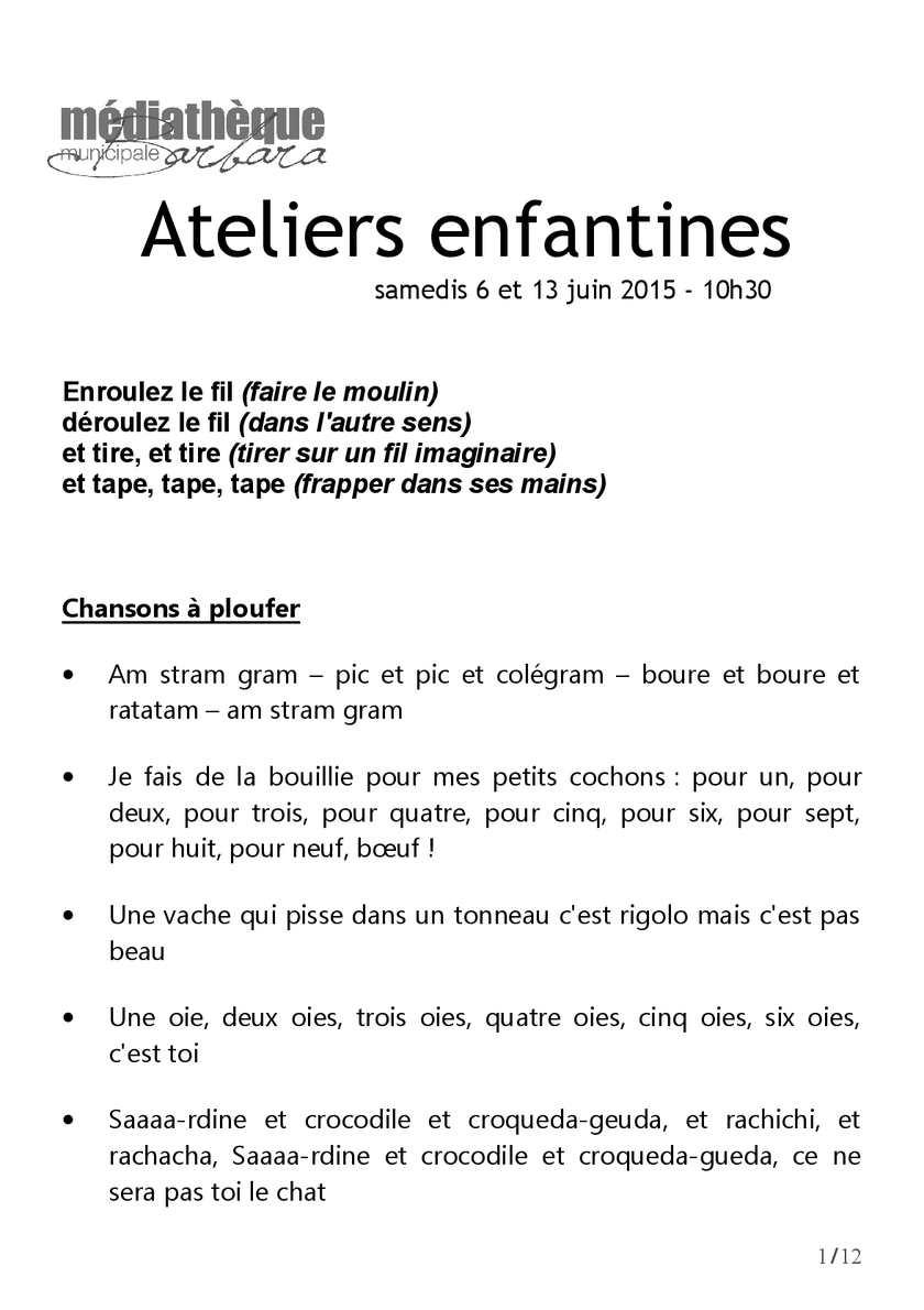 Calaméo - Livret Enfantines serapportantà Petit Moulin Chanson