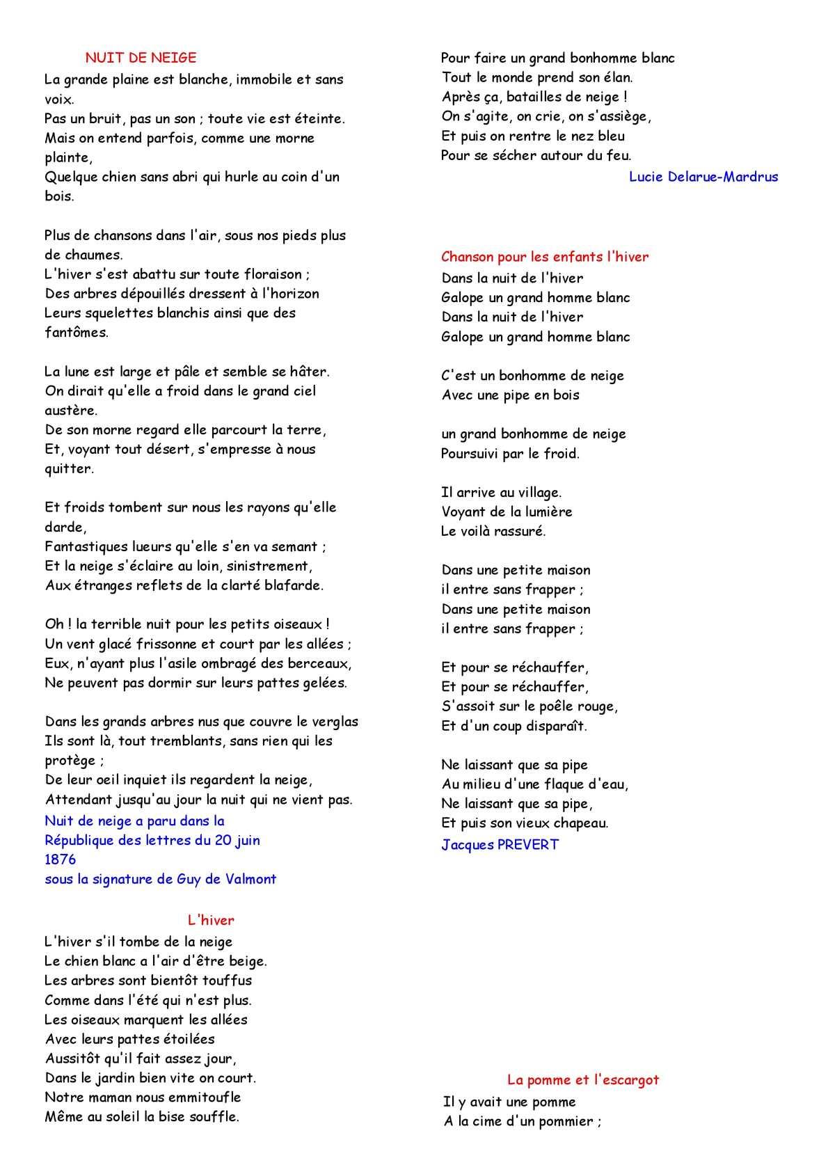 Calaméo - Poesie Hiver encequiconcerne Dans La Nuit De L Hiver Chanson