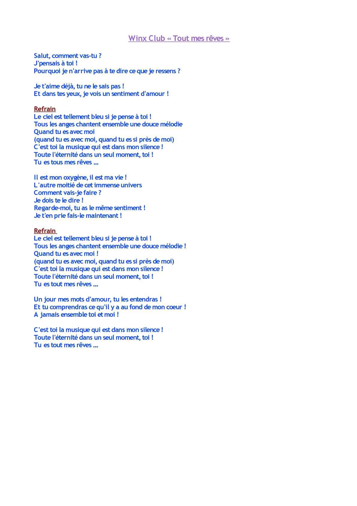 Calaméo - Winx Club Tous Mes Rêves (Paroles) concernant Chanson Pense À Moi