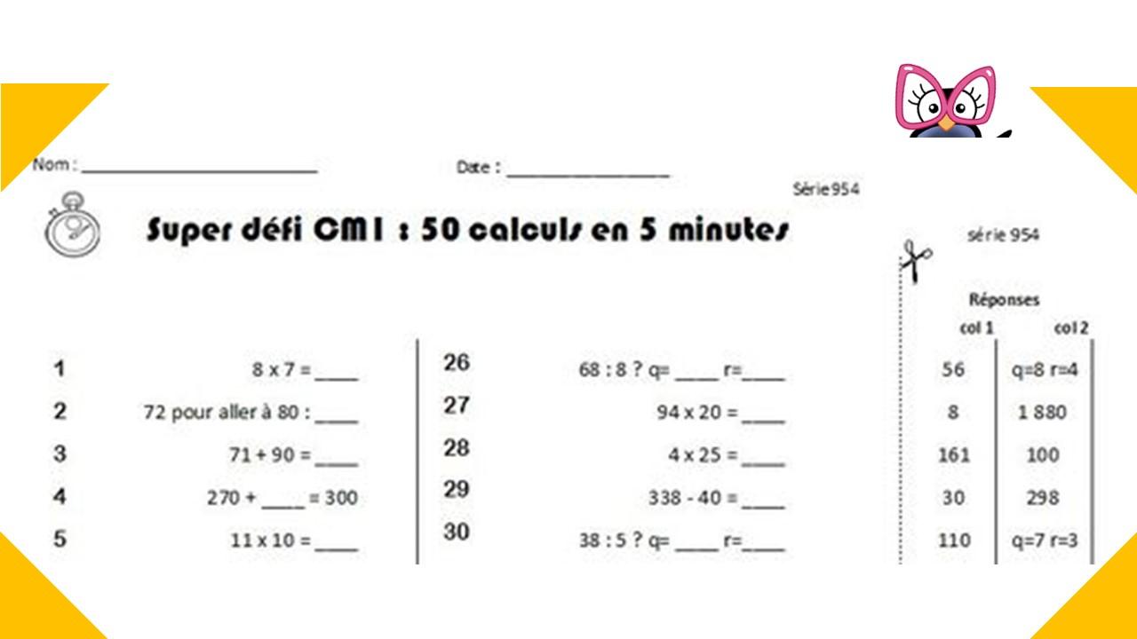 Calcul Mental Cm1 Et Cm2 : Programmation Et Générateur pour Exercice Cm2 Gratuit