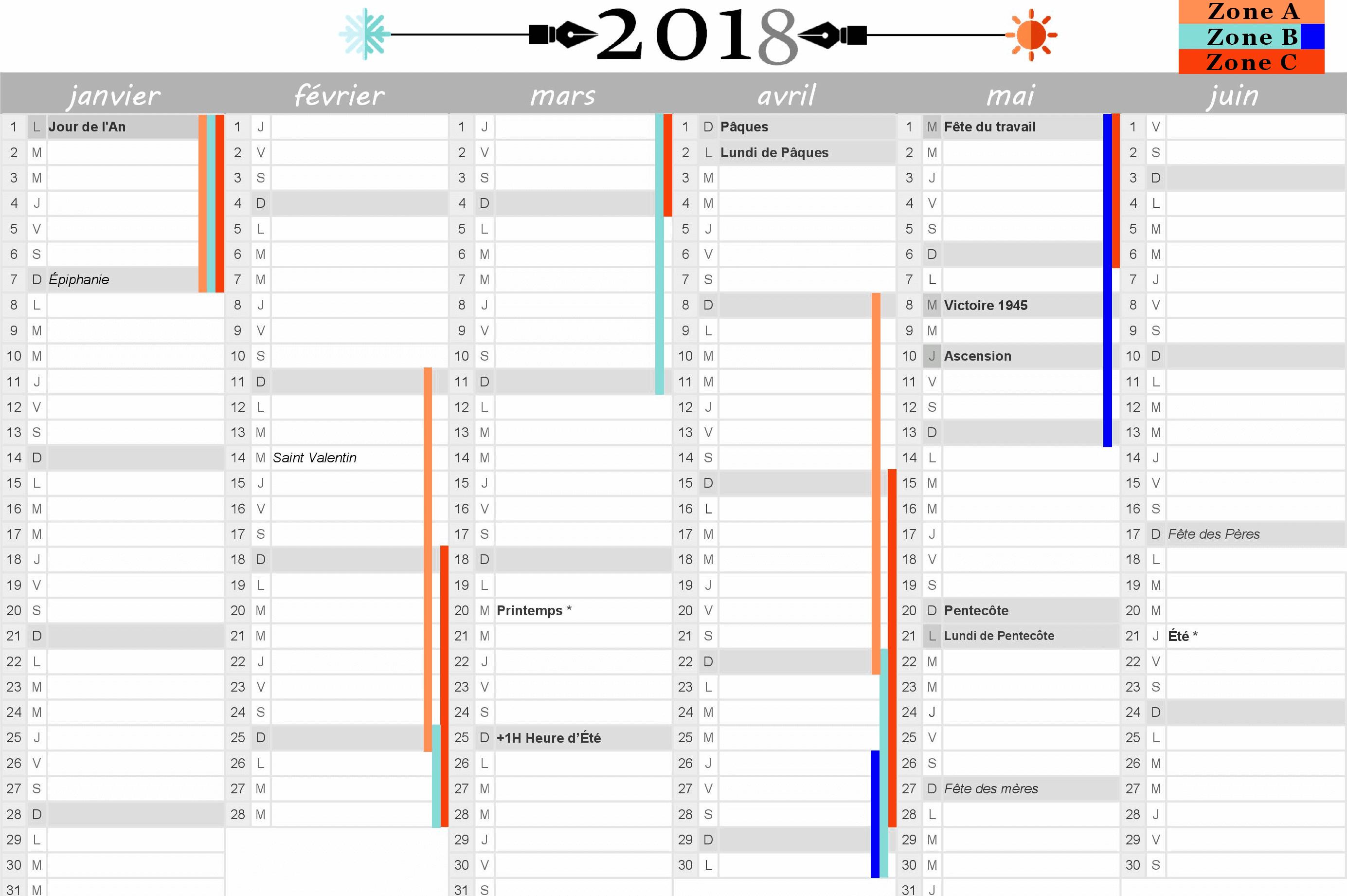 Calendrier 2018 : Vacances Scolaires Et Jours Fériés Inclus concernant Calendrier 2019 Avec Jours Fériés Vacances Scolaires À Imprimer