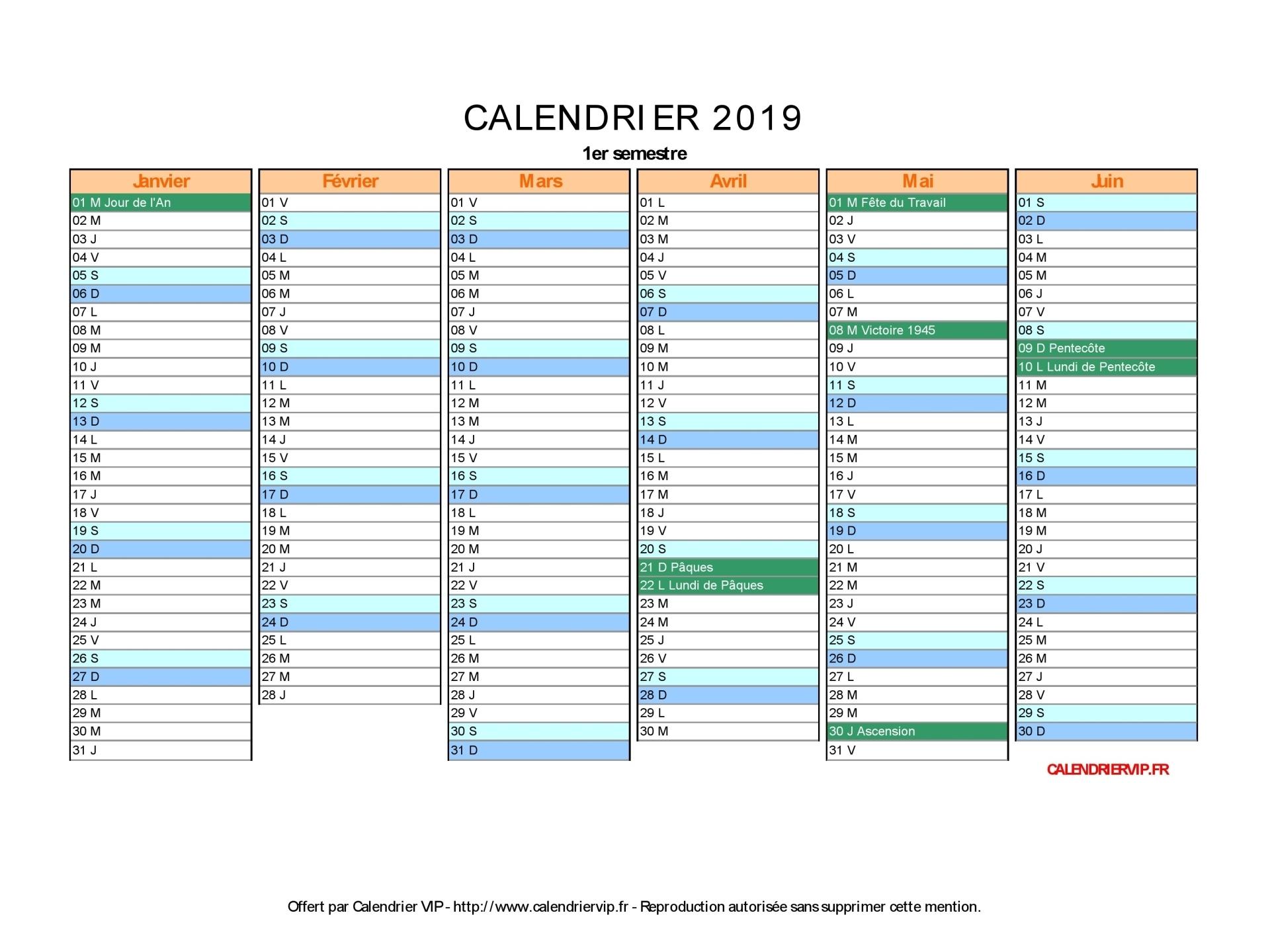 Calendrier 2019 À Imprimer Gratuit En Pdf Et Excel destiné Calendrier 2019 Avec Jours Fériés Vacances Scolaires À Imprimer