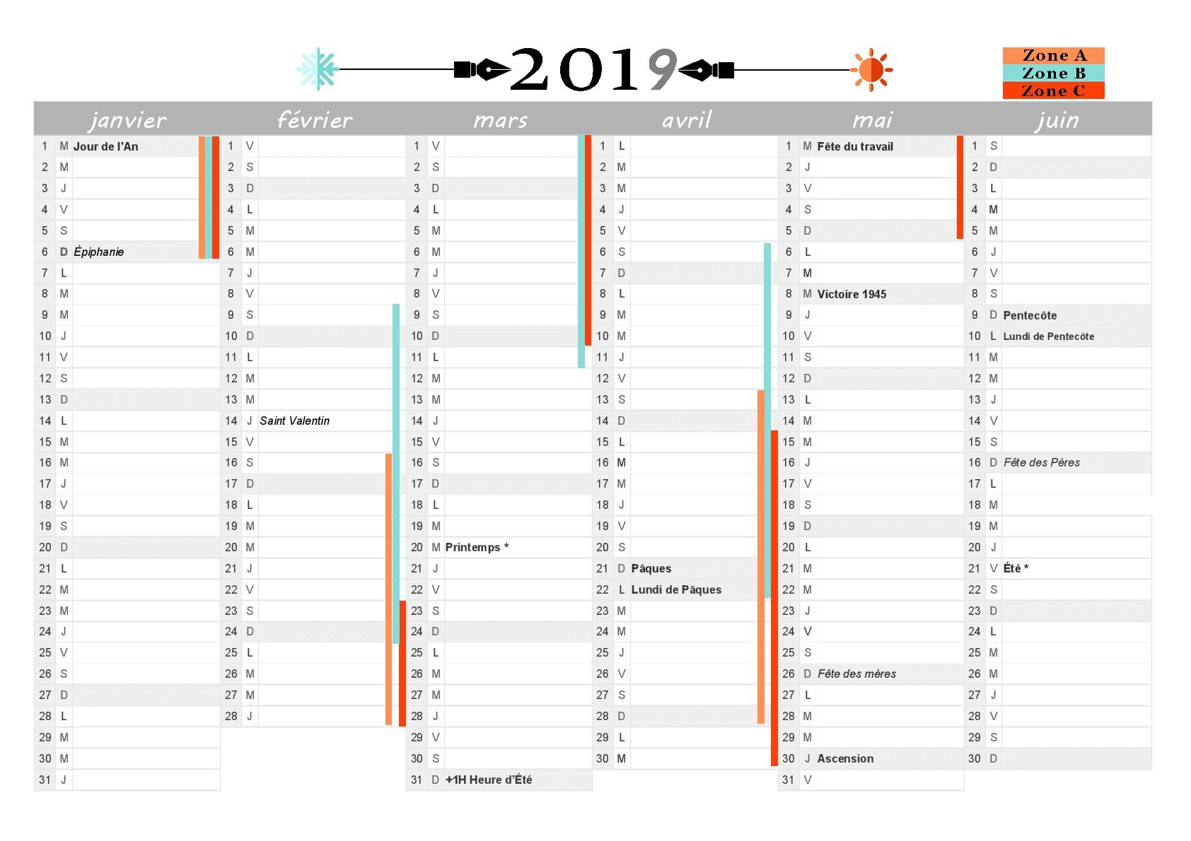 Calendrier 2019 À Imprimer : Jours Fériés - Vacances intérieur Calendrier 2019 Avec Jours Fériés Vacances Scolaires À Imprimer
