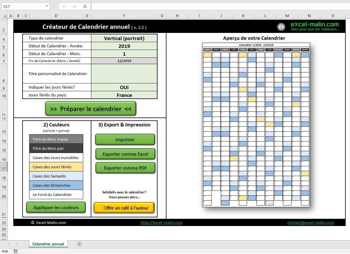 Calendrier 2019 Excel Modifiable Et Gratuit | Excel-Malin dedans Calendrier 2019 Avec Jours Fériés Vacances Scolaires À Imprimer