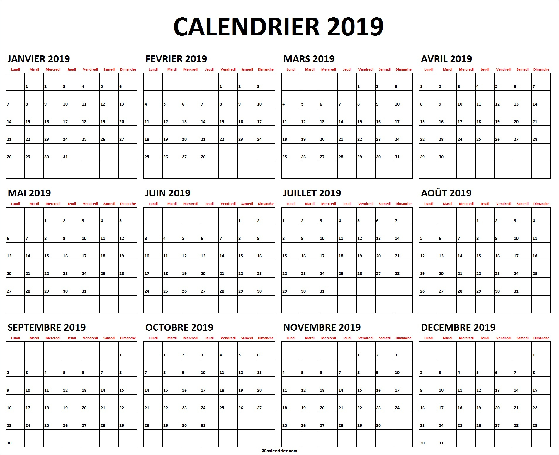 Calendrier 2019 Jours Fériés | Calendrier 2019 À Imprimer concernant Calendrier 2019 Avec Jours Fériés Vacances Scolaires À Imprimer