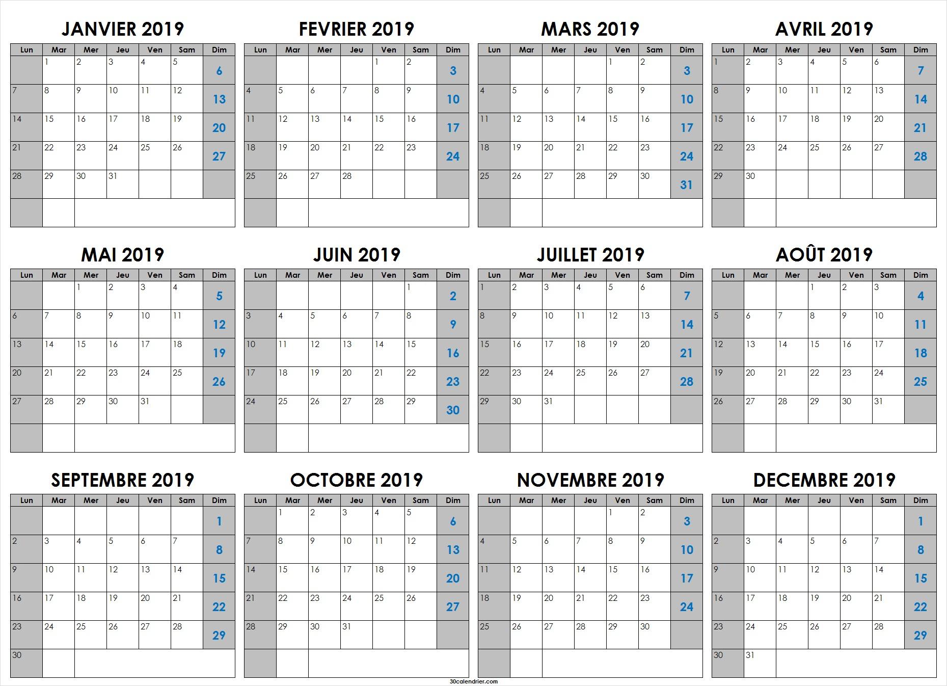 Calendrier 2019 Jours Fériés | Calendrier 2019 À Imprimer destiné Calendrier 2019 Avec Jours Fériés Vacances Scolaires À Imprimer