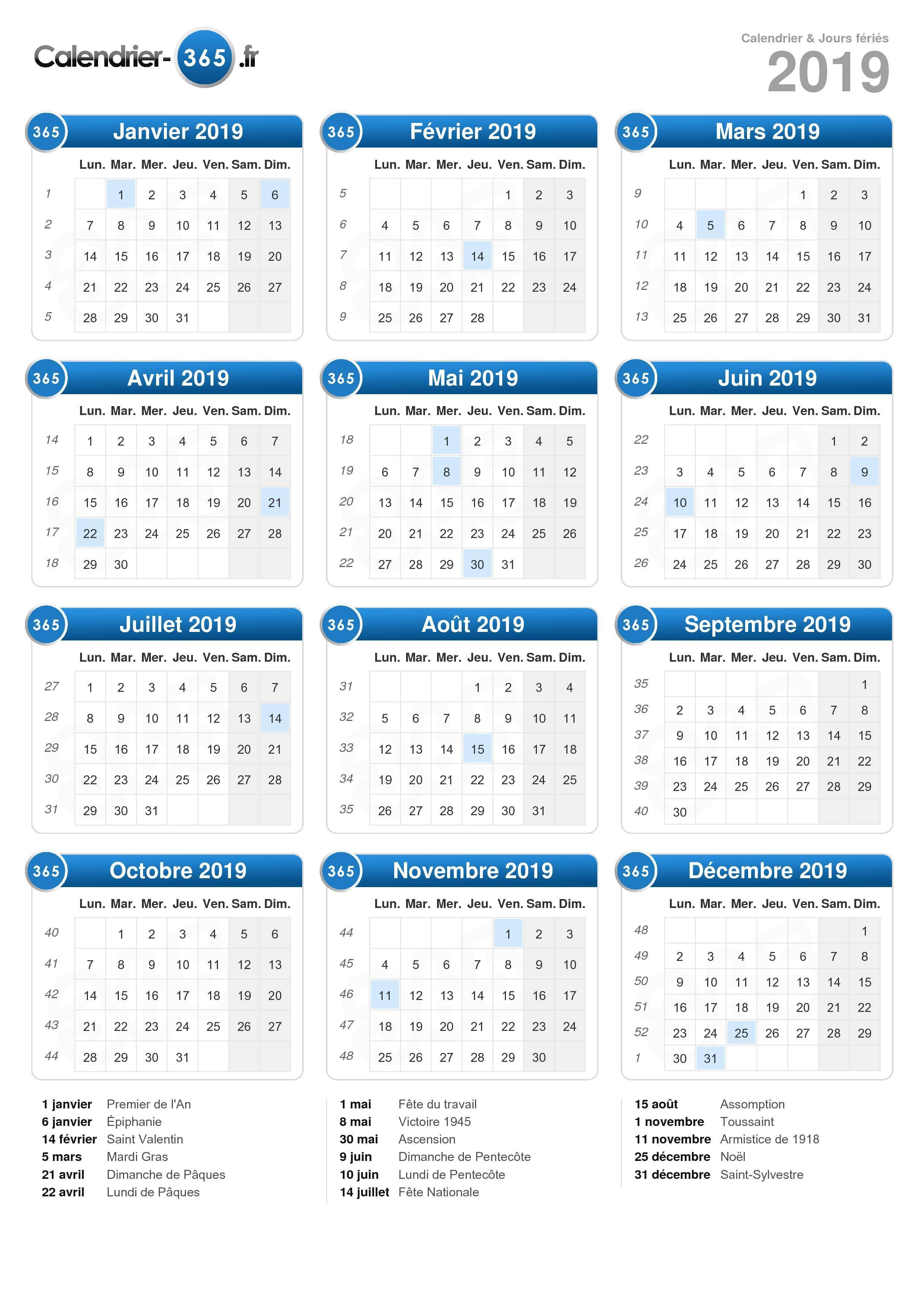 Calendrier 2019 pour Calendrier 2019 Avec Jours Fériés Vacances Scolaires À Imprimer