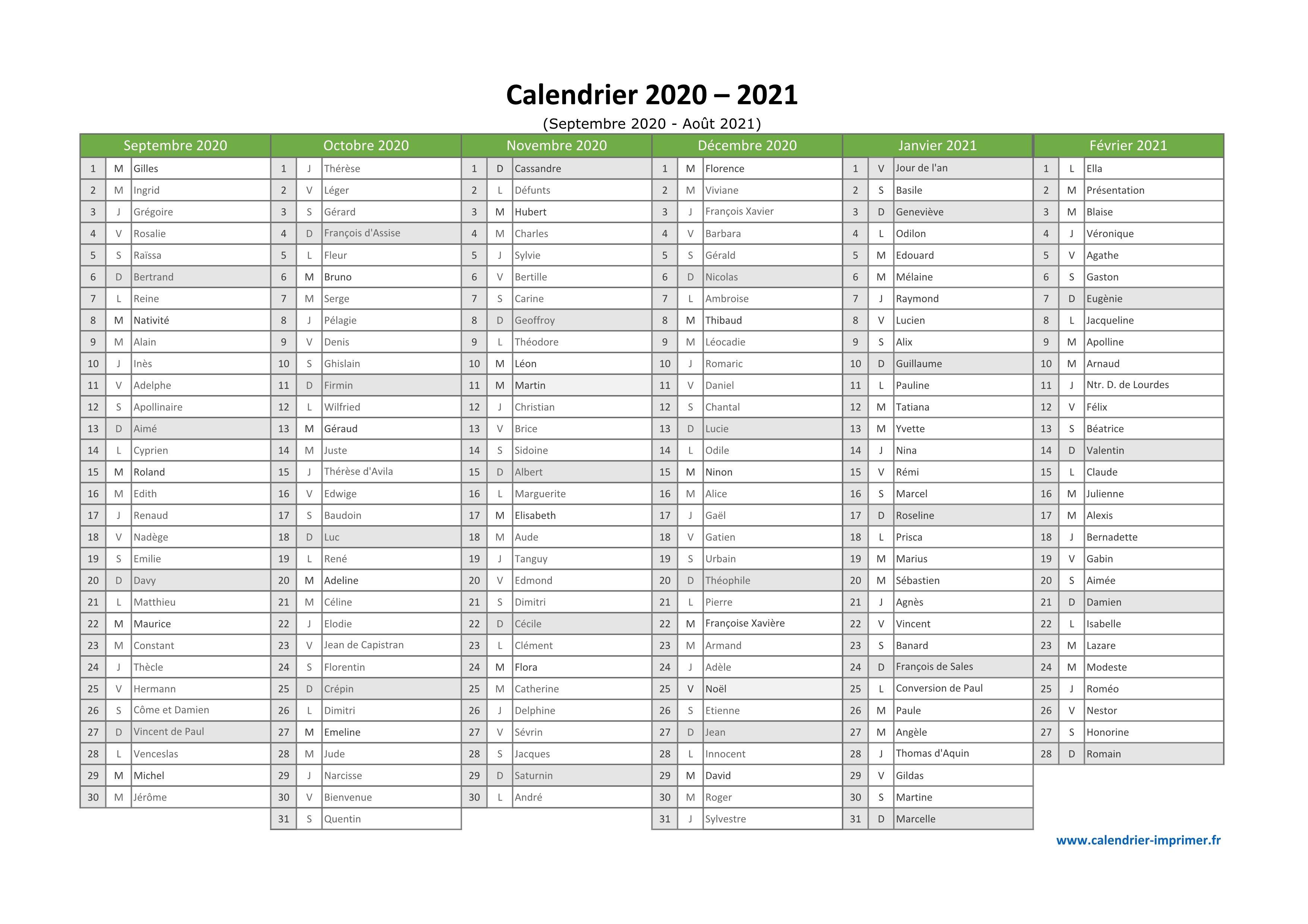 Calendrier 2020 2021 À Imprimer concernant Calendrier 2019 Avec Jours Fériés Vacances Scolaires À Imprimer