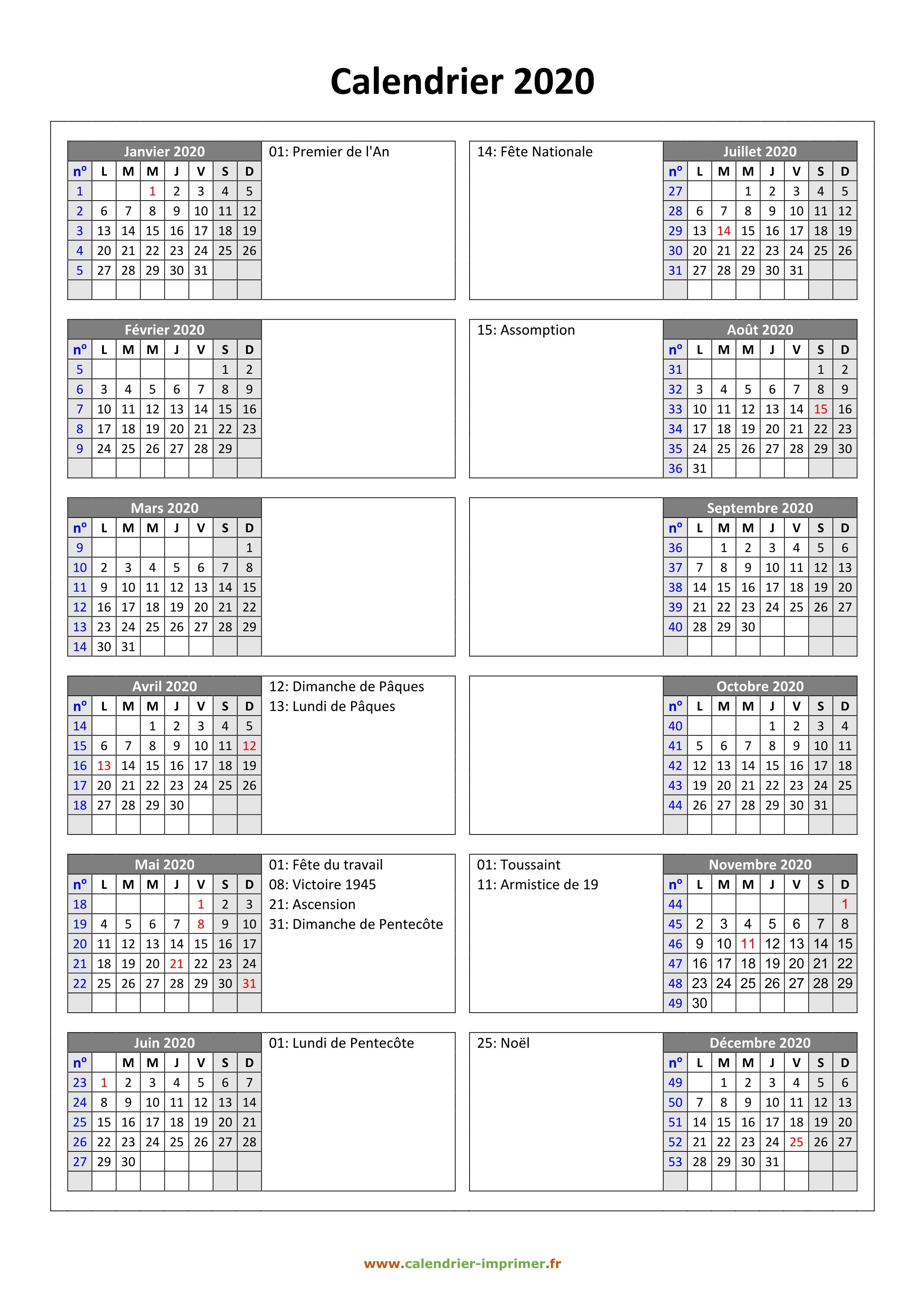 Calendrier 2020 À Imprimer Gratuit dedans Calendrier 2019 Avec Jours Fériés Vacances Scolaires À Imprimer