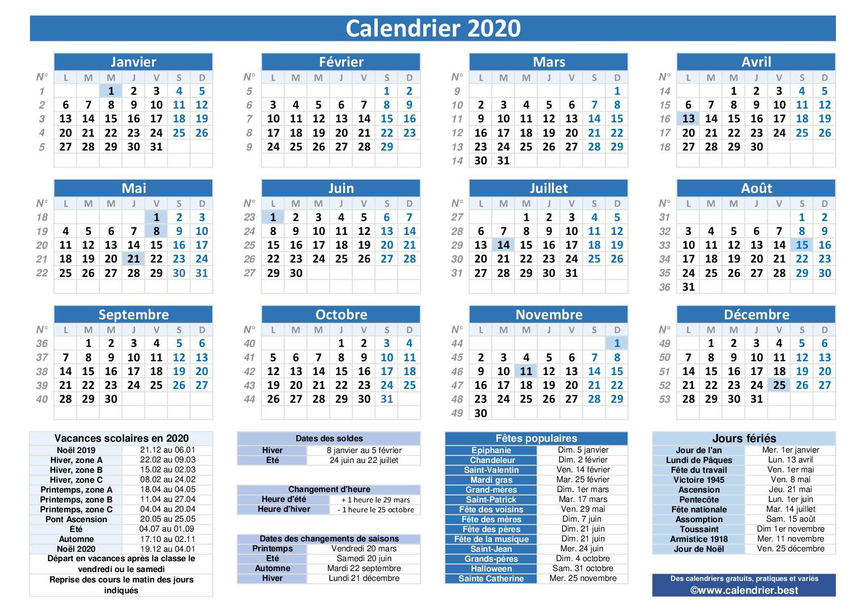 Calendrier 2020 Avec Jours Fériés Et Dates Utiles À Imprimer dedans Calendrier 2019 Avec Jours Fériés Vacances Scolaires À Imprimer