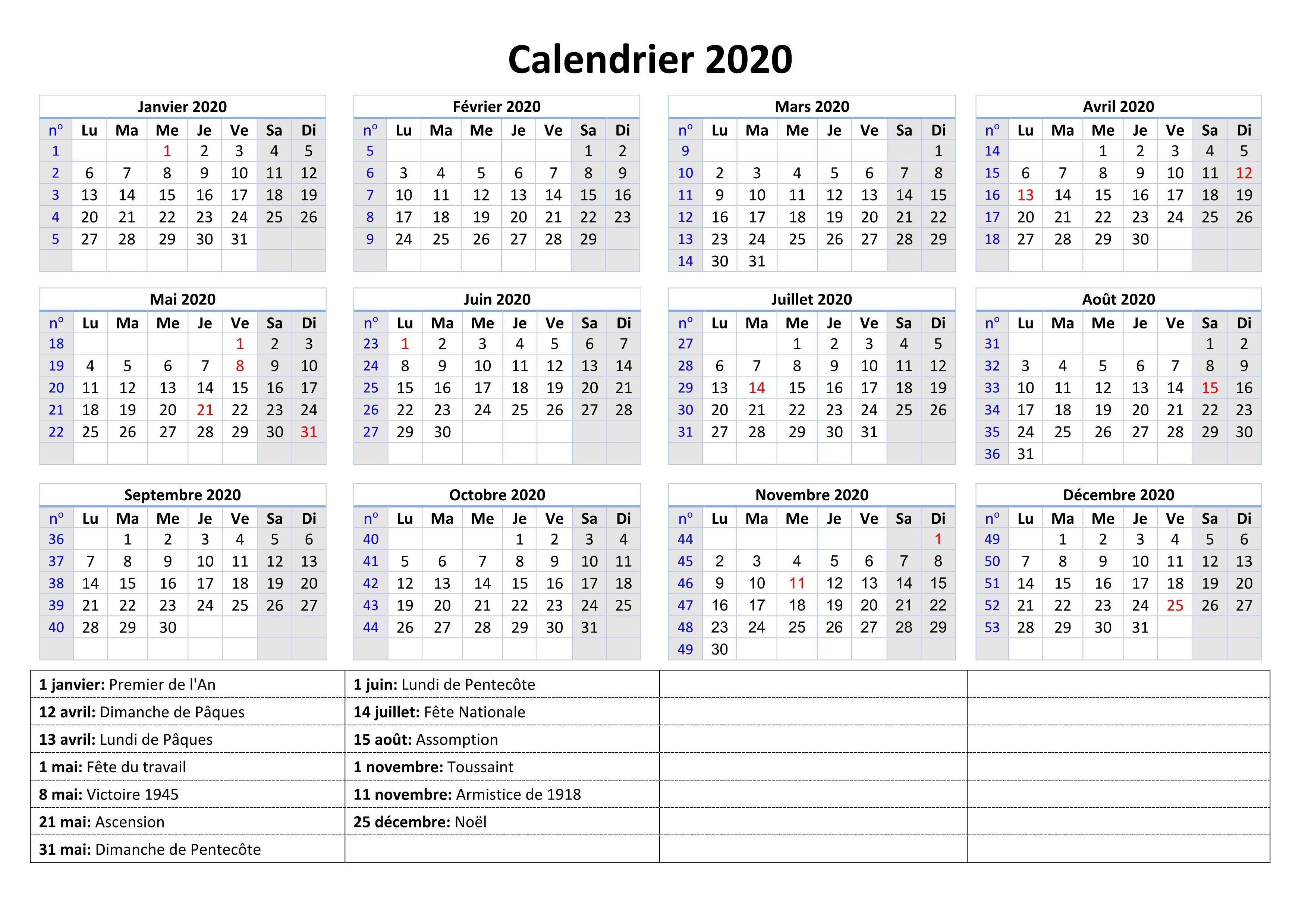 Calendrier 2020 Avec Semaine | Calendrier 2020 tout Calendrier 2019 Avec Jours Fériés Vacances Scolaires À Imprimer