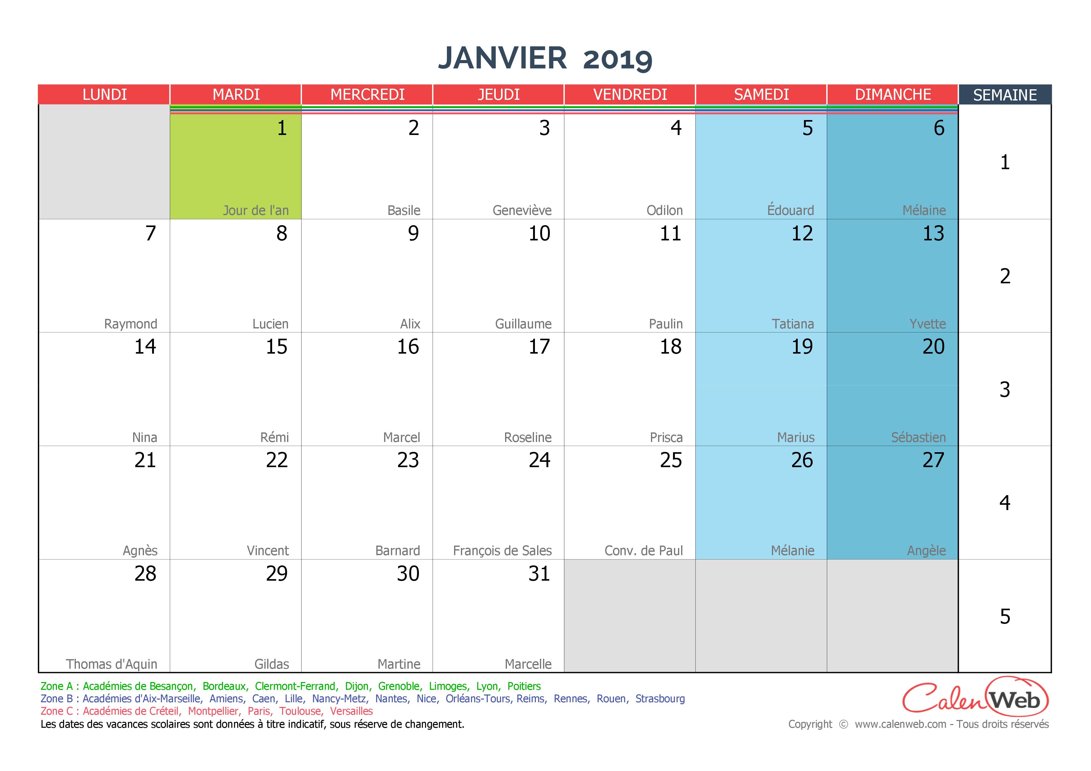 Calendrier Mensuel 2019 Personnalisable Avec Fêtes, Jours avec Calendrier 2019 Avec Jours Fériés Vacances Scolaires À Imprimer