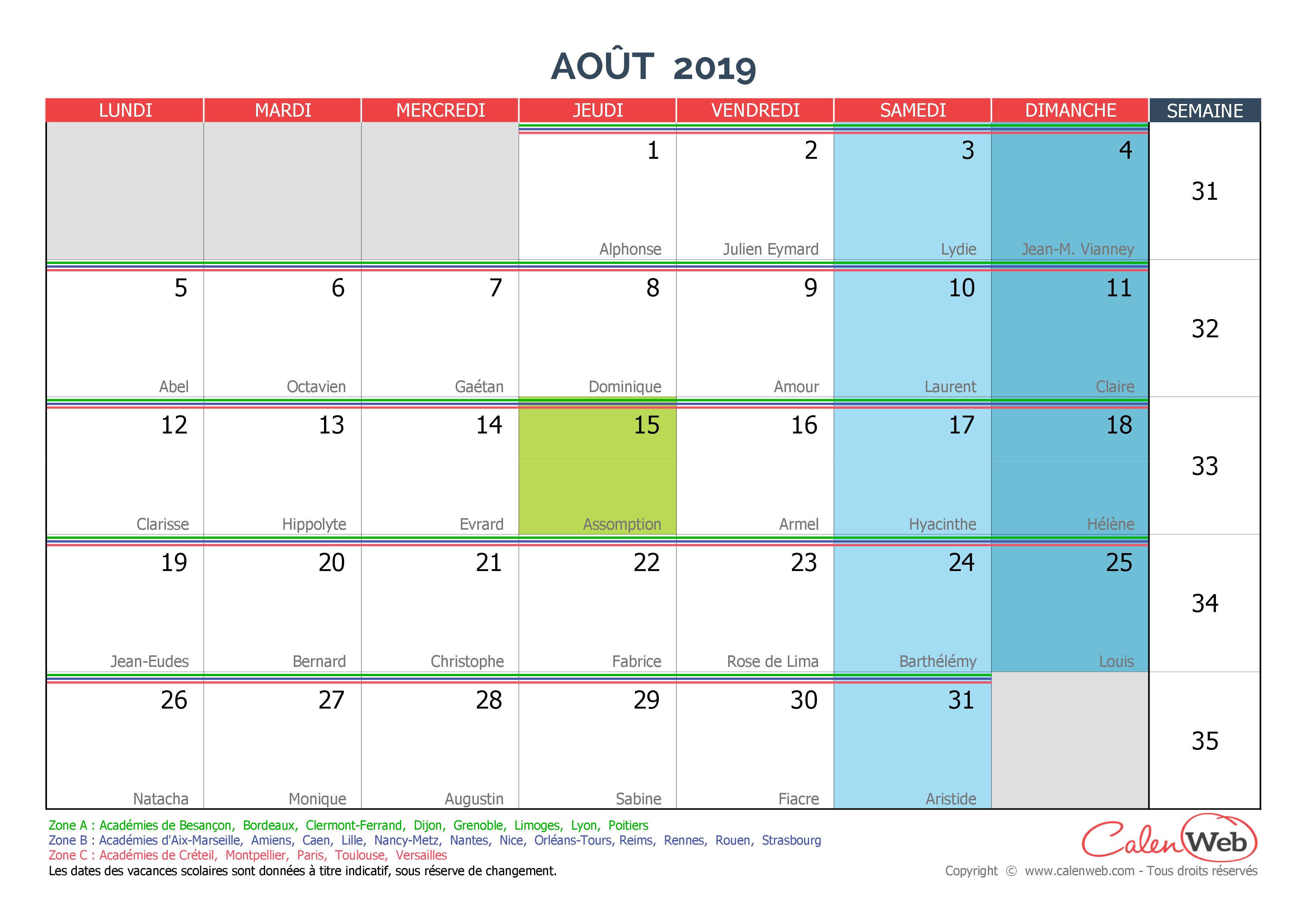 Calendrier Mensuel - Mois D'août 2019 Avec Fêtes, Jours intérieur Calendrier 2019 Avec Jours Fériés Vacances Scolaires À Imprimer