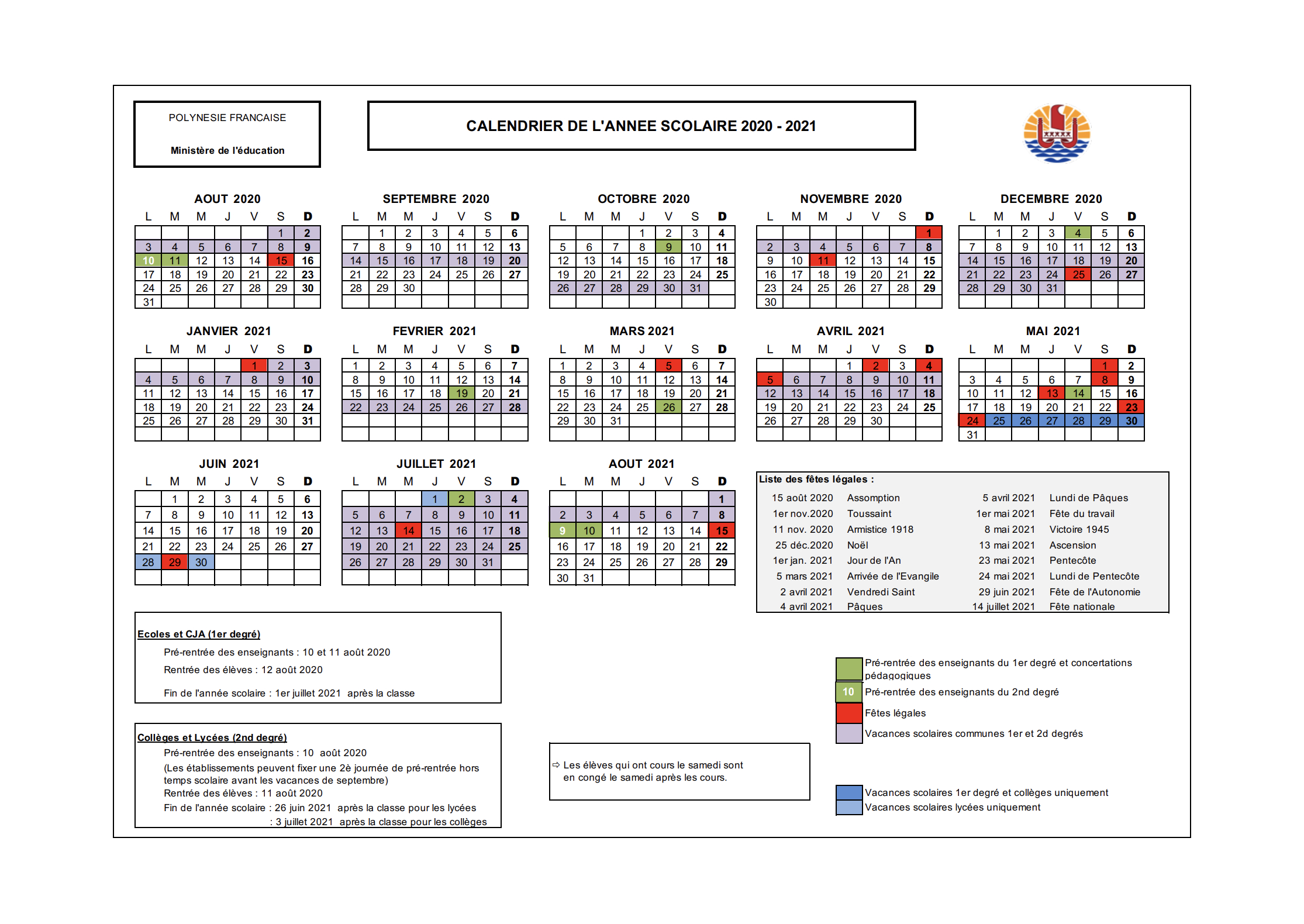 Calendrier Scolaire 2020-2023 - Vice-Rectorat De Polynésie tout Calendrier 2019 Avec Jours Fériés Vacances Scolaires À Imprimer