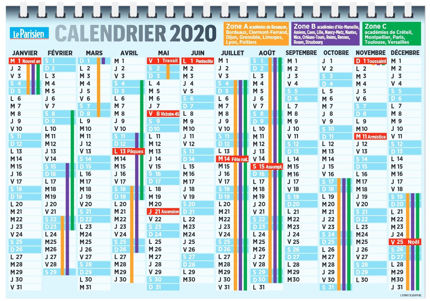 Calendrier Vacances Scolaires 2019-2020 - Pratique - Le destiné Calendrier 2019 Avec Jours Fériés Vacances Scolaires À Imprimer