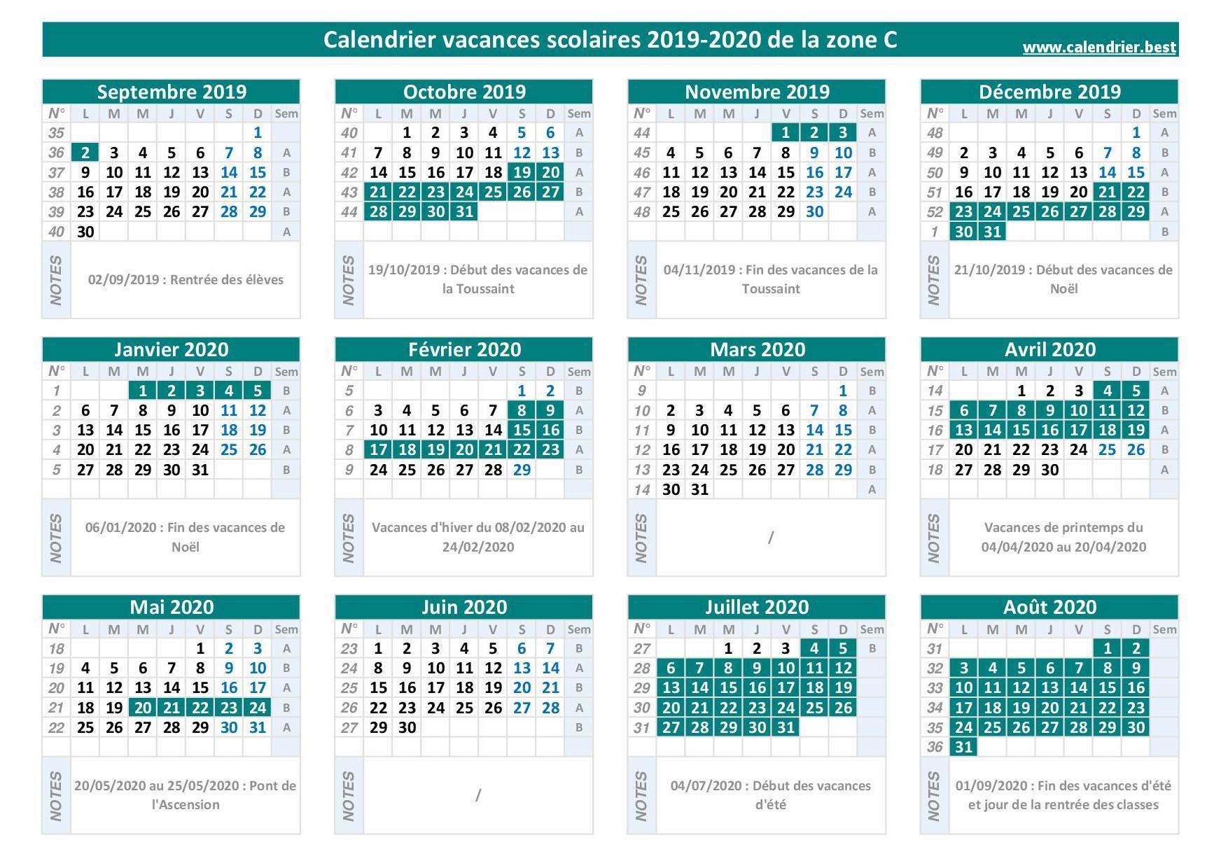 Calendrier+Des+Vacances+Scolaires - dedans Calendrier 2019 Avec Jours Fériés Vacances Scolaires À Imprimer