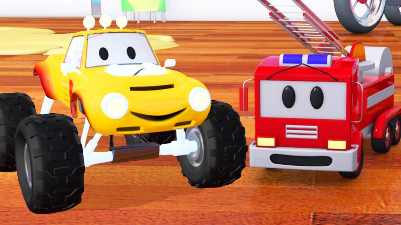 Camion Pompier, Bulldozer, Voiture De Course & Lucas Le Petit Camion |  Dessin Animé Pour Les Enfants tout La Voiture De Course Dessin Animé