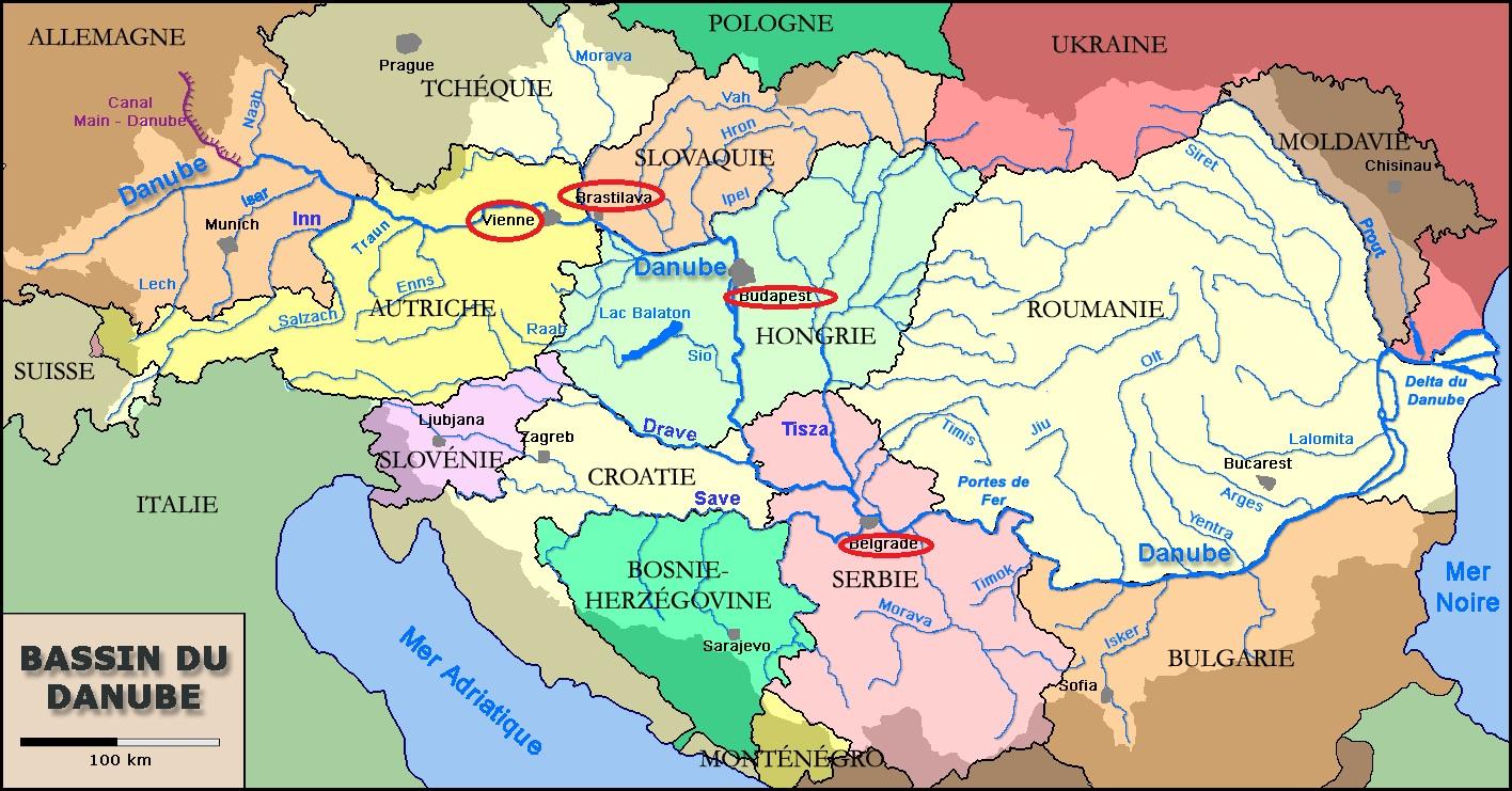 Capitales D'europe Traversées Par Le Danube destiné Carte Europe Avec Capitales