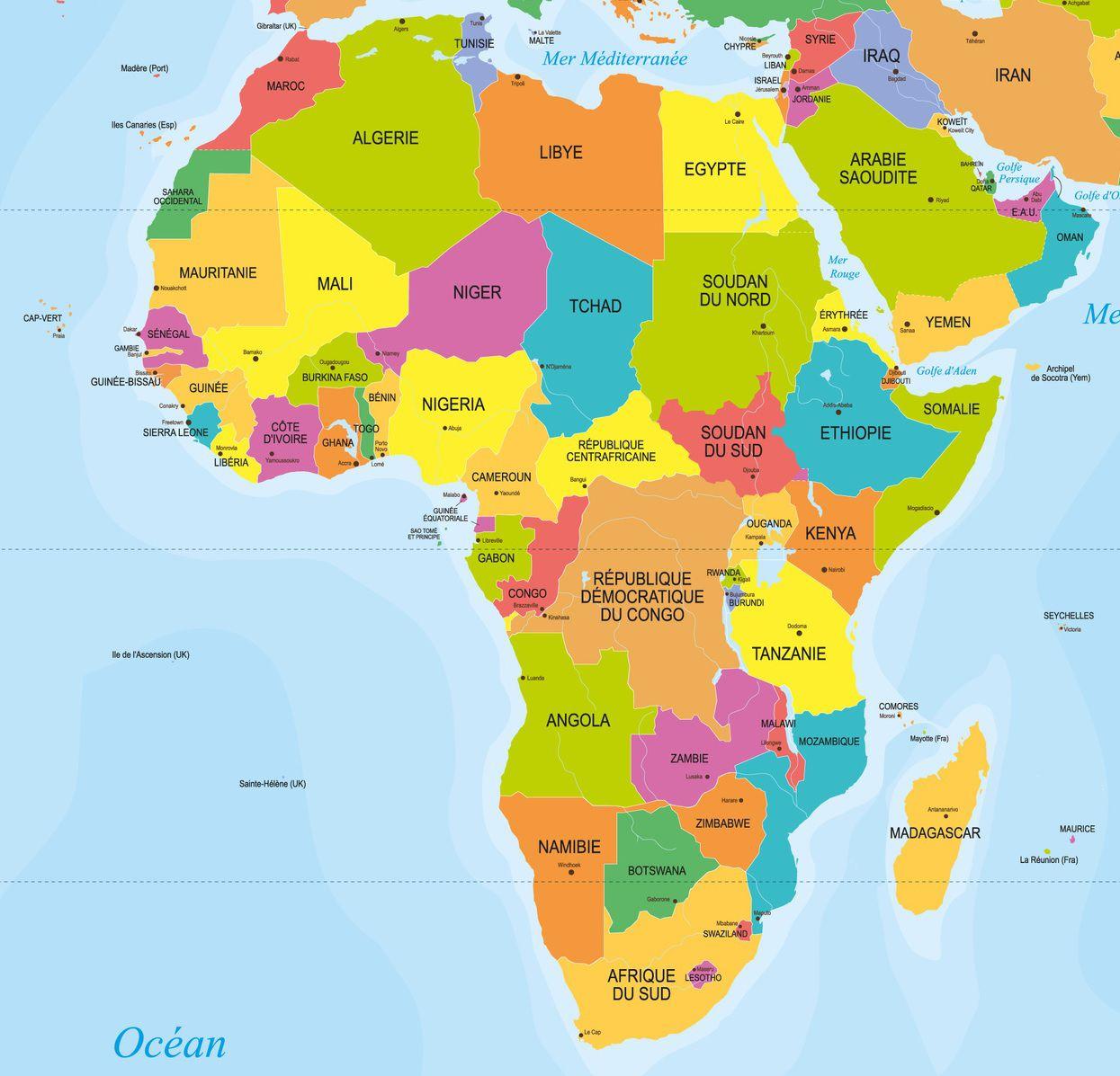 Capitales En Afrique Avec Une Carte Du Continent Pour Les intérieur Carte Europe Capitale