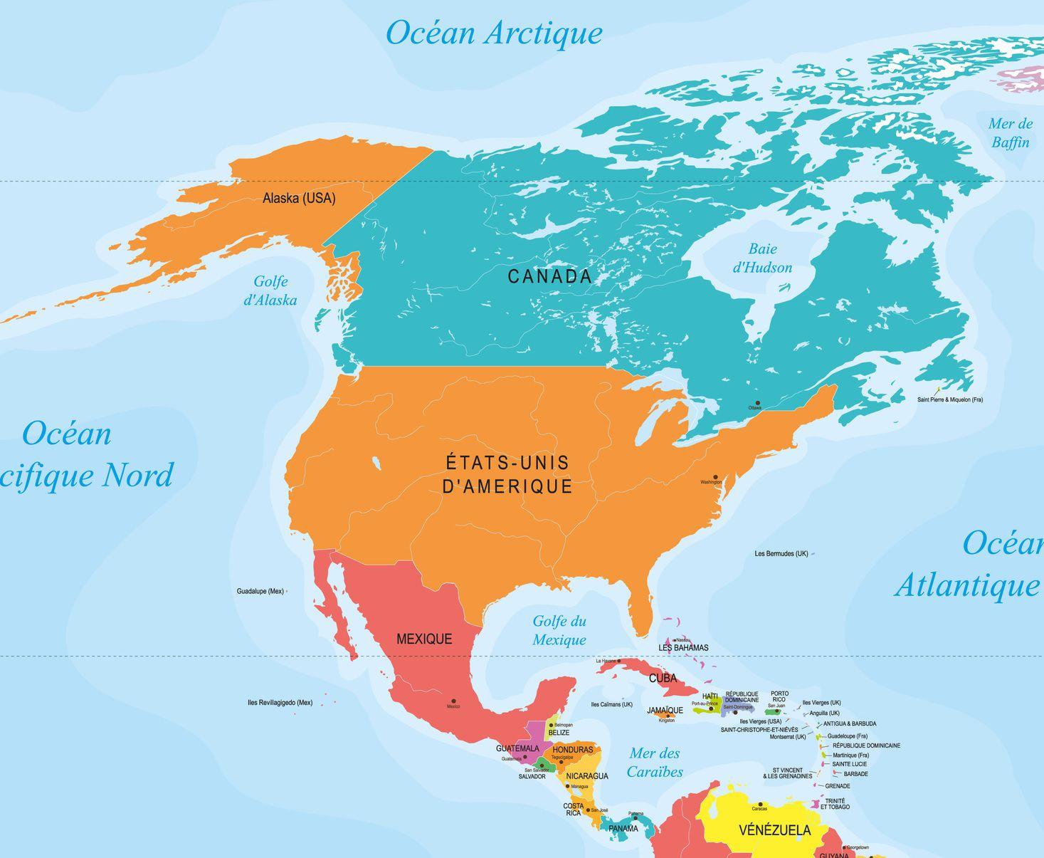 Capitales En Amérique Du Nord Et Centrale Avec Une Carte avec Carte Europe Avec Capitales