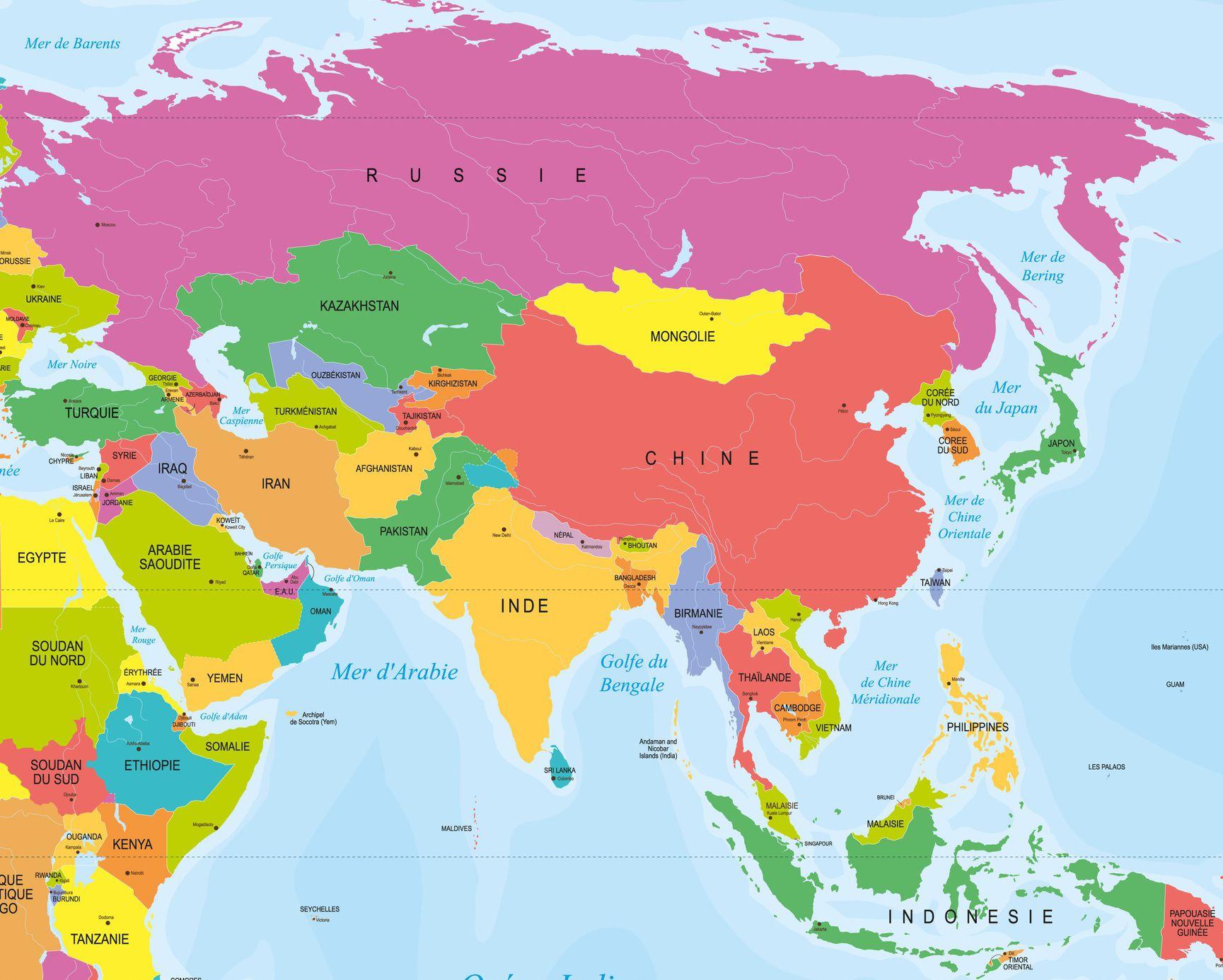 Capitales En Asie Par Pays Avec Une Carte Pour Leurs dedans Carte Europe Capitale
