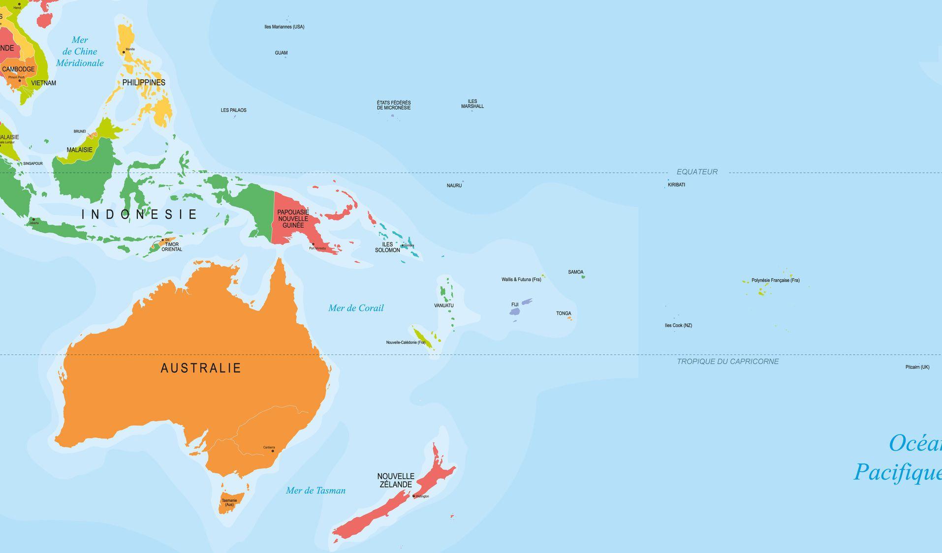 Capitales En Océanie Par Pays - Carte Pour Les Localiser Sur dedans Carte Europe Avec Capitales