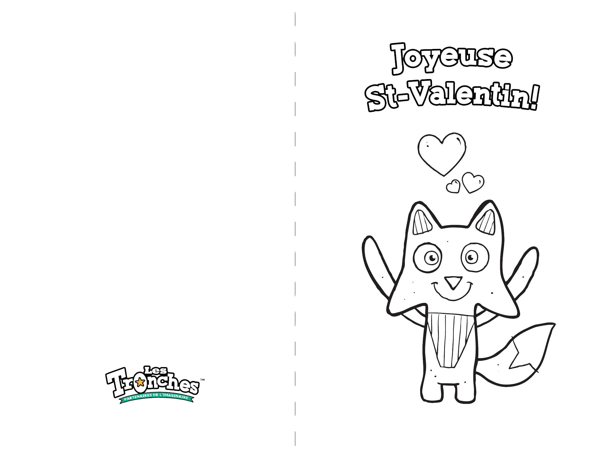 Carte À Colorier Renard Le Débrouillard - Souris Verte à Coloriage De St Valentin