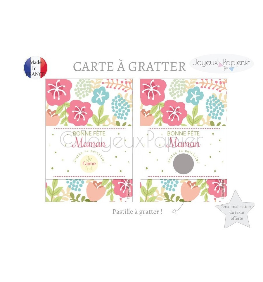 Carte À Gratter Bonne Fête Maman serapportantà Carte Bonne Fete Maman A Imprimer