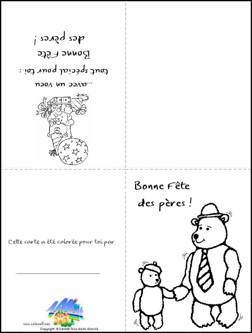 Carte À Imprimer Et À Colorier Bonne Fête Papa - Coloriages dedans Coloriage Fete Des Peres