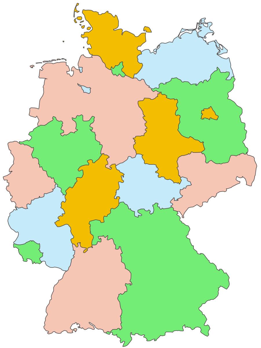Carte Allemagne Vierge Régions, Carte Vierge Des Régions De destiné Carte Des Régions Vierge