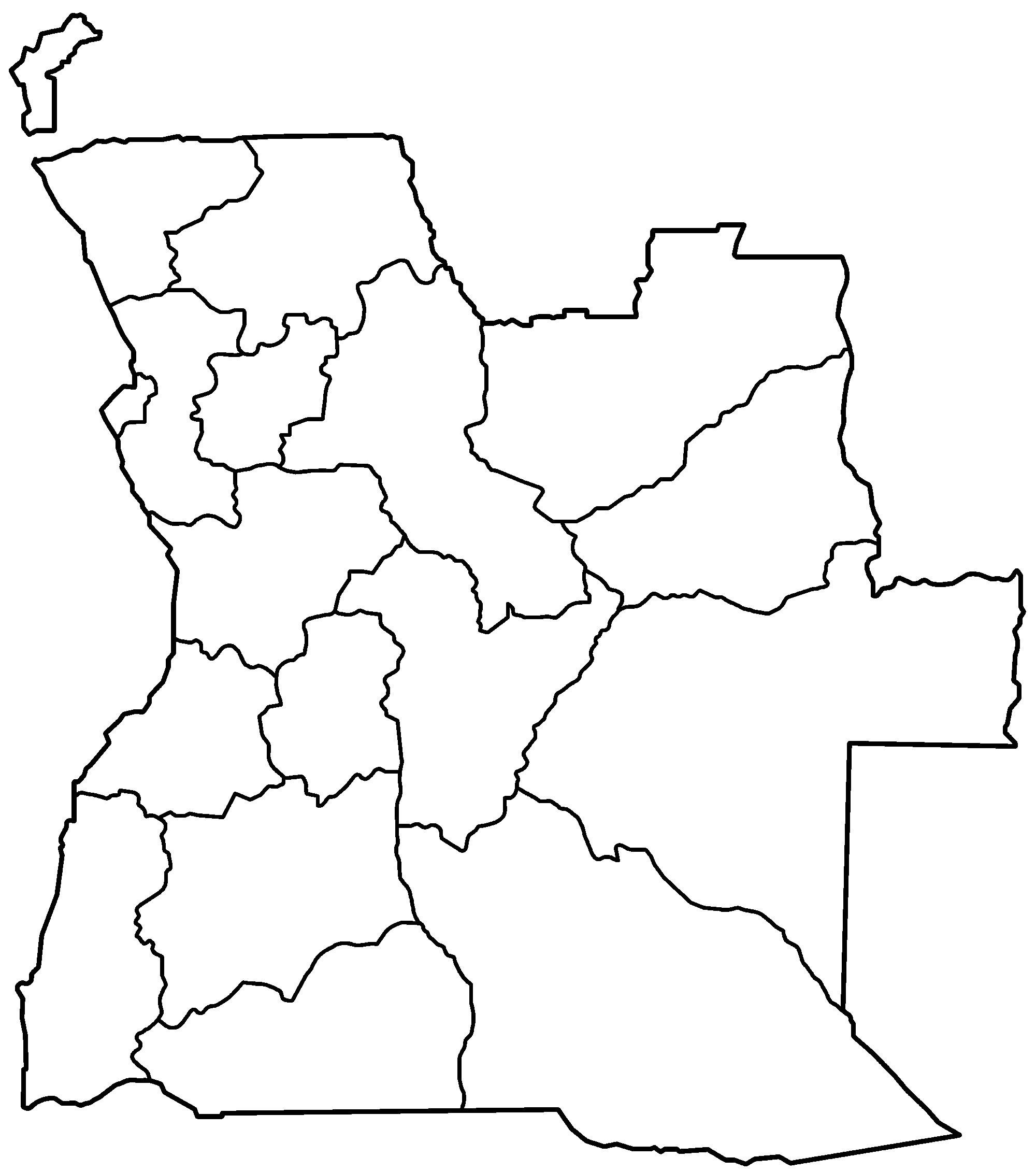 Carte Angola Vierge Régions, Carte Vierge Des Régions De Angola concernant Carte Des Régions Vierge