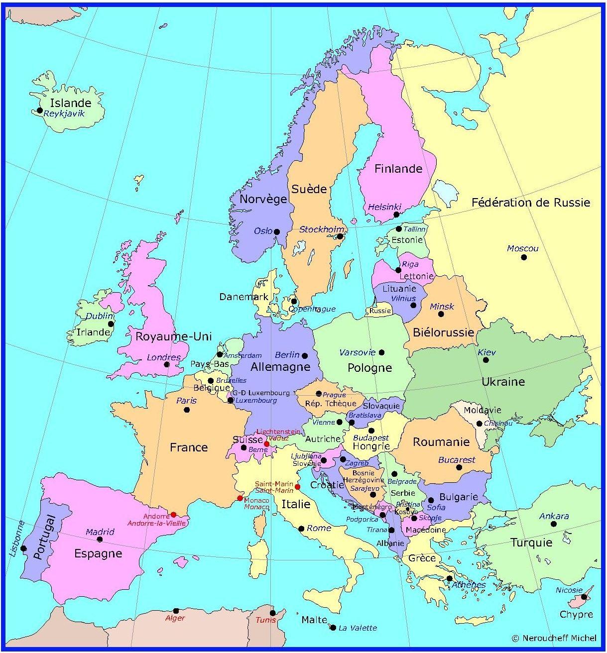 Carte Capitales Des Pays D'europe (Avec Images) | Capital destiné Carte Europe Capitale