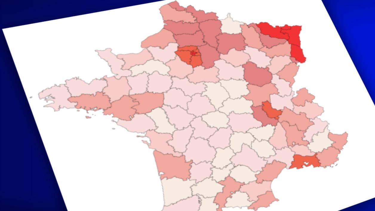 Carte. Coronavirus: 12.072 Personnes Hospitalisées En France à Carte De France Avec Département À Imprimer